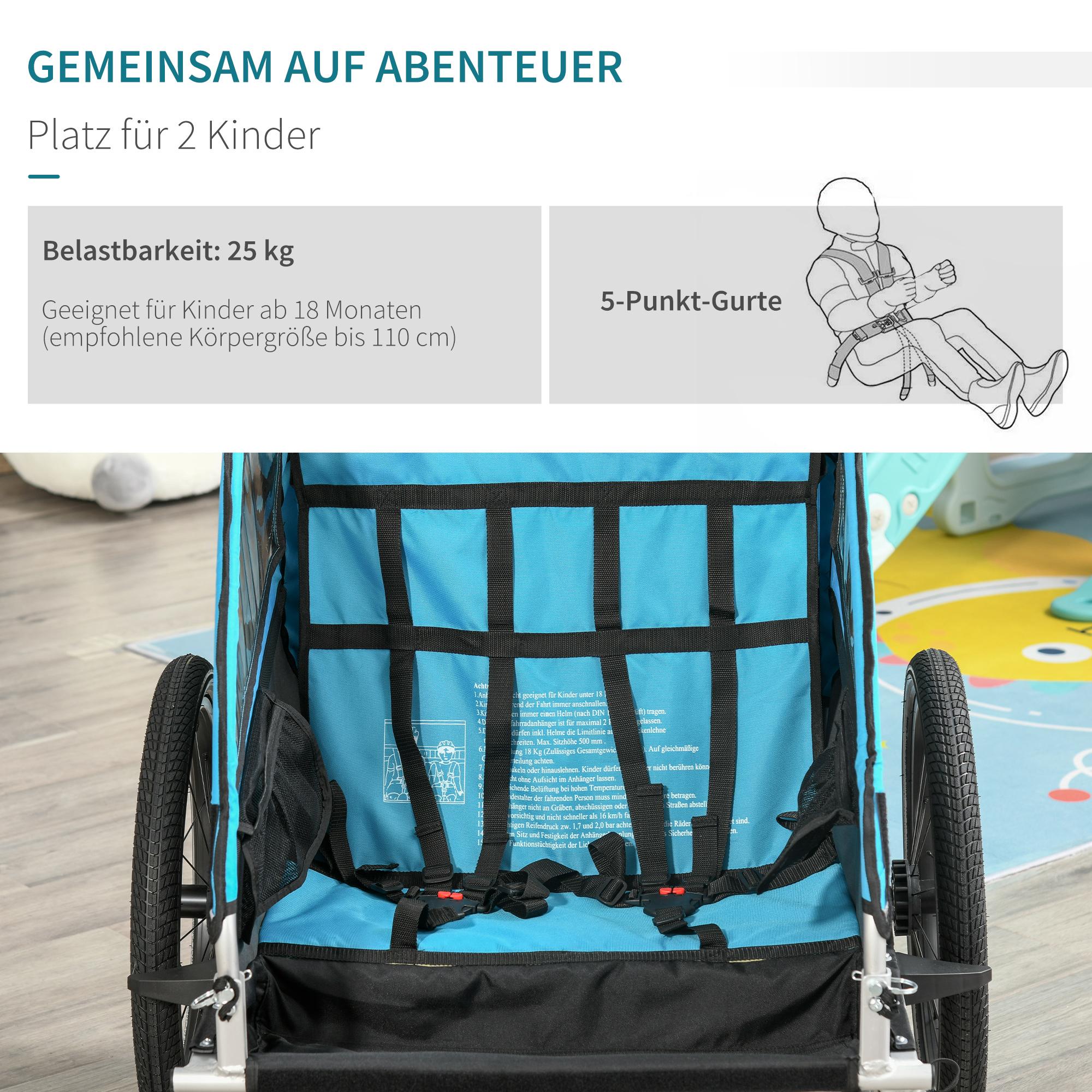 Indexbild 10 - HOMCOM 3 in 1 Kinderanhänger Jogger Fahrradanhänger für 2 Kinder Alu