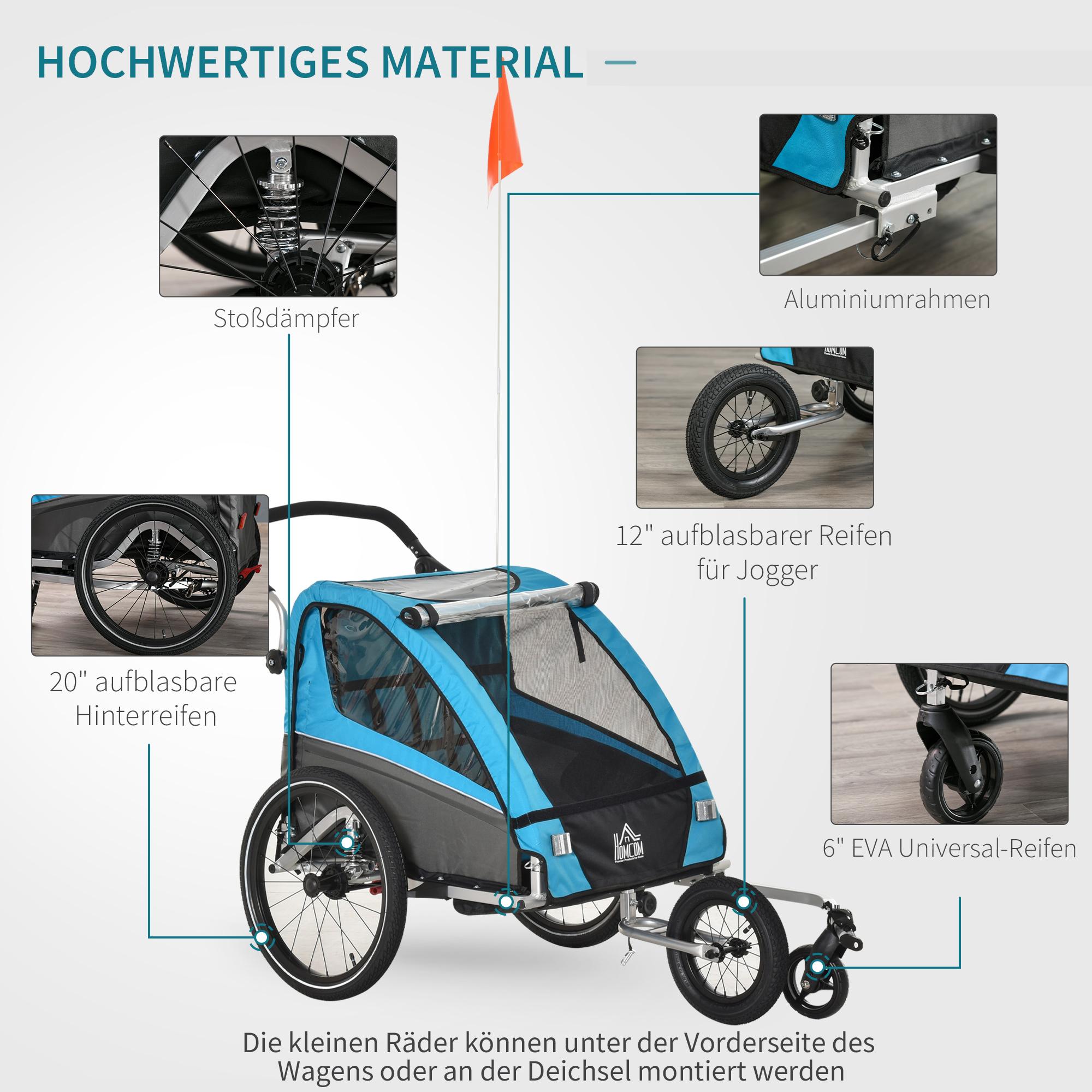 Indexbild 12 - HOMCOM 3 in 1 Kinderanhänger Jogger Fahrradanhänger für 2 Kinder Alu
