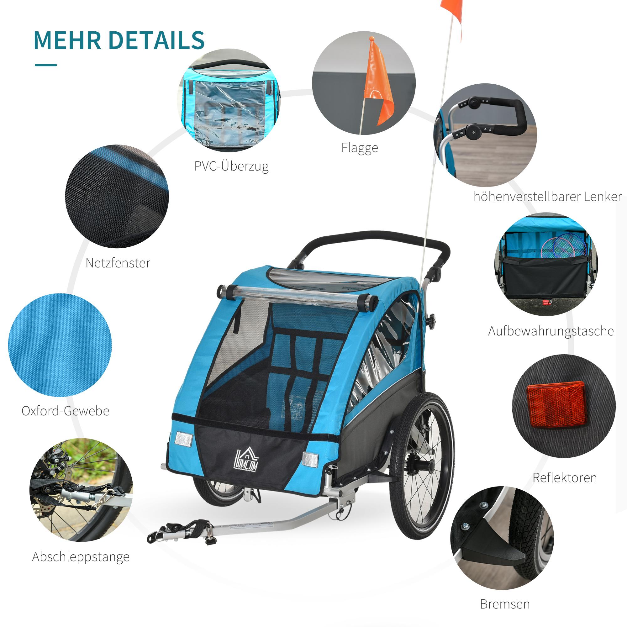 Indexbild 15 - HOMCOM 3 in 1 Kinderanhänger Jogger Fahrradanhänger für 2 Kinder Alu