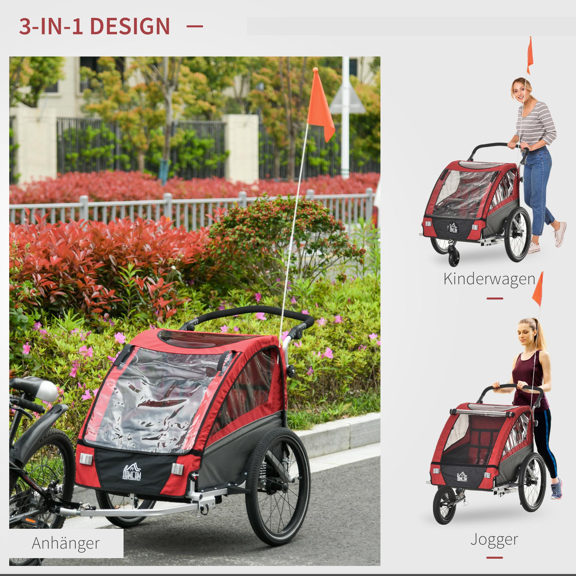 Indexbild 20 - HOMCOM 3 in 1 Kinderanhänger Jogger Fahrradanhänger für 2 Kinder Alu