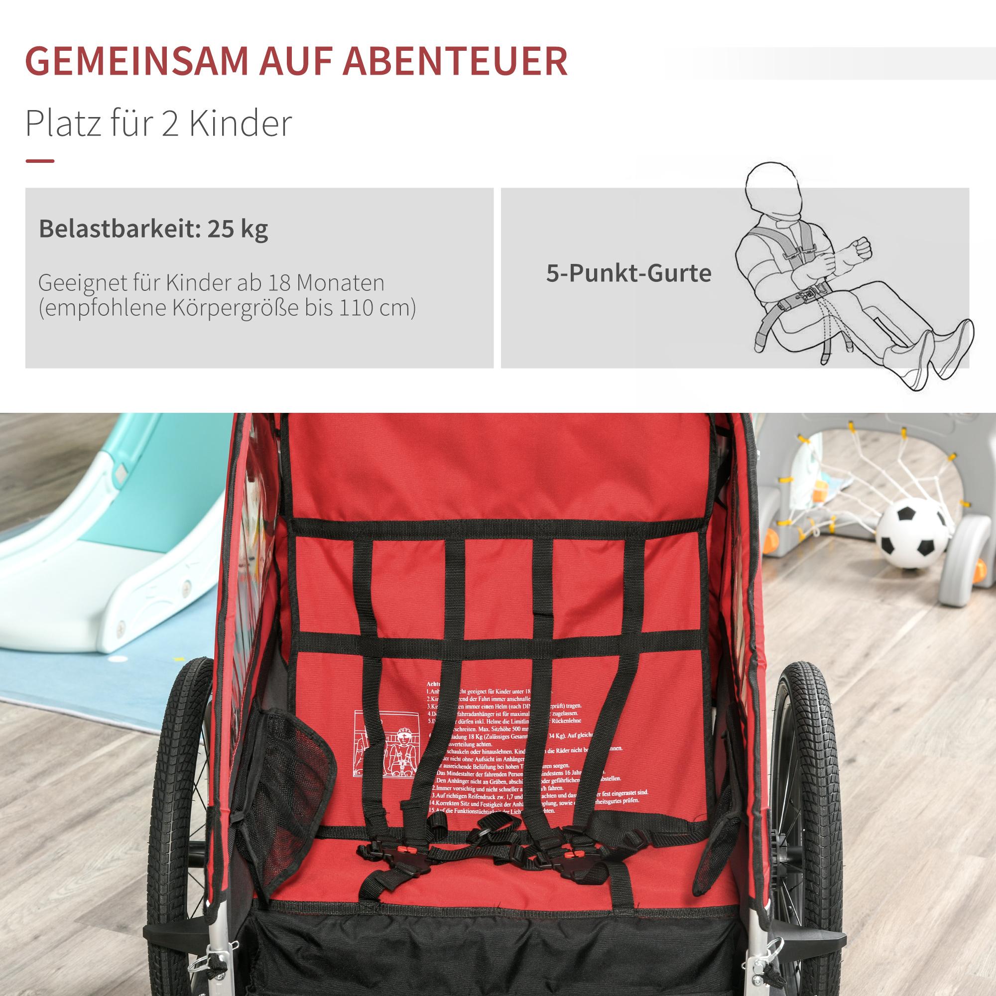 Indexbild 19 - HOMCOM 3 in 1 Kinderanhänger Jogger Fahrradanhänger für 2 Kinder Alu