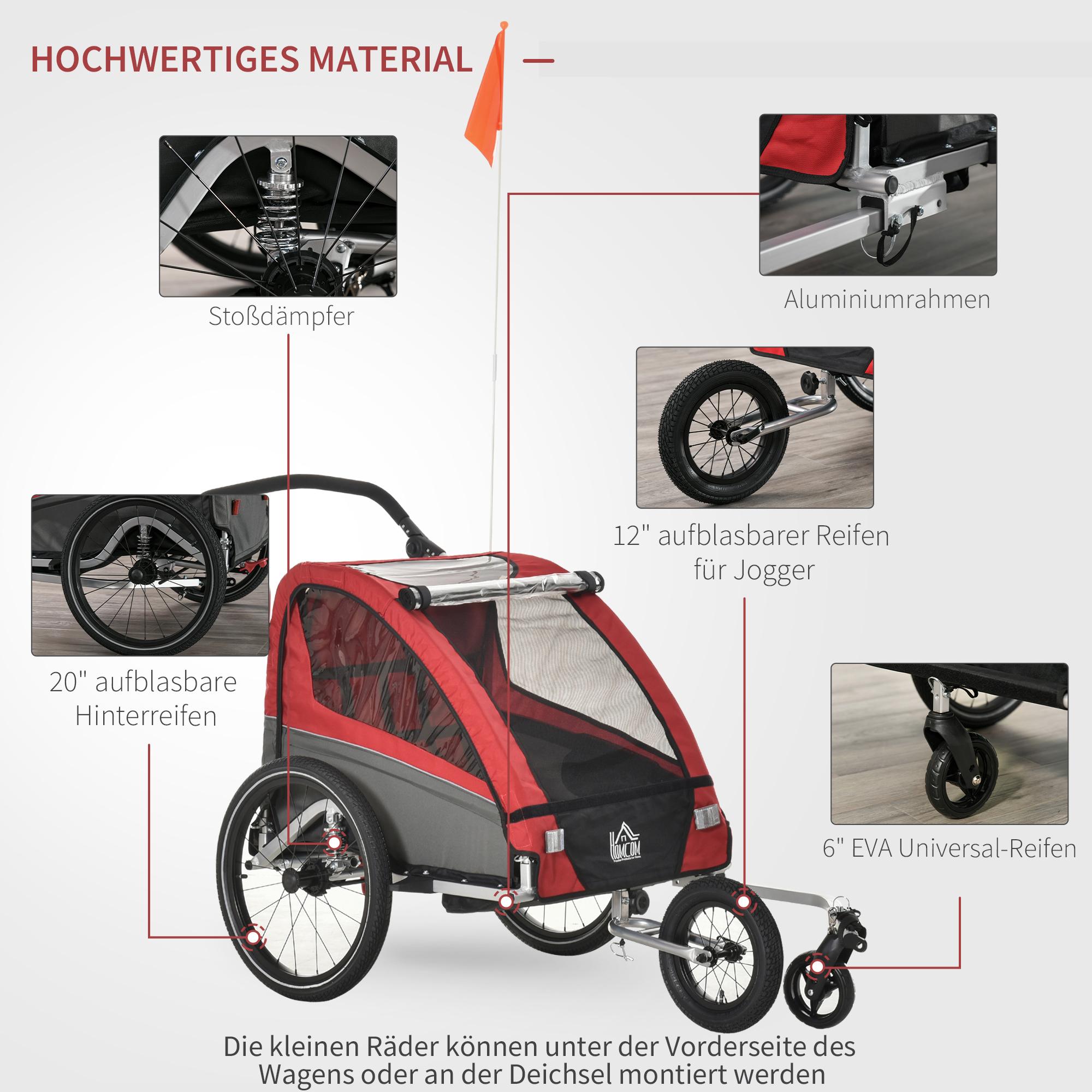 Indexbild 21 - HOMCOM 3 in 1 Kinderanhänger Jogger Fahrradanhänger für 2 Kinder Alu