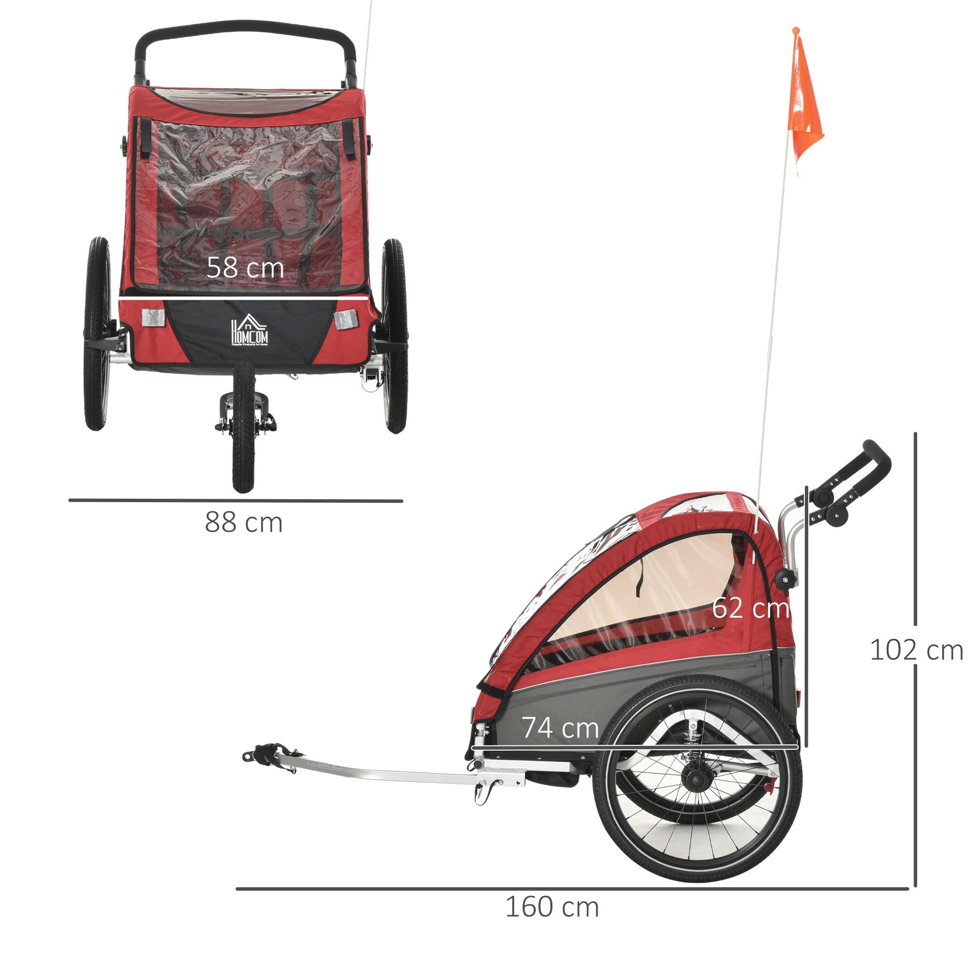 Indexbild 22 - HOMCOM 3 in 1 Kinderanhänger Jogger Fahrradanhänger für 2 Kinder Alu