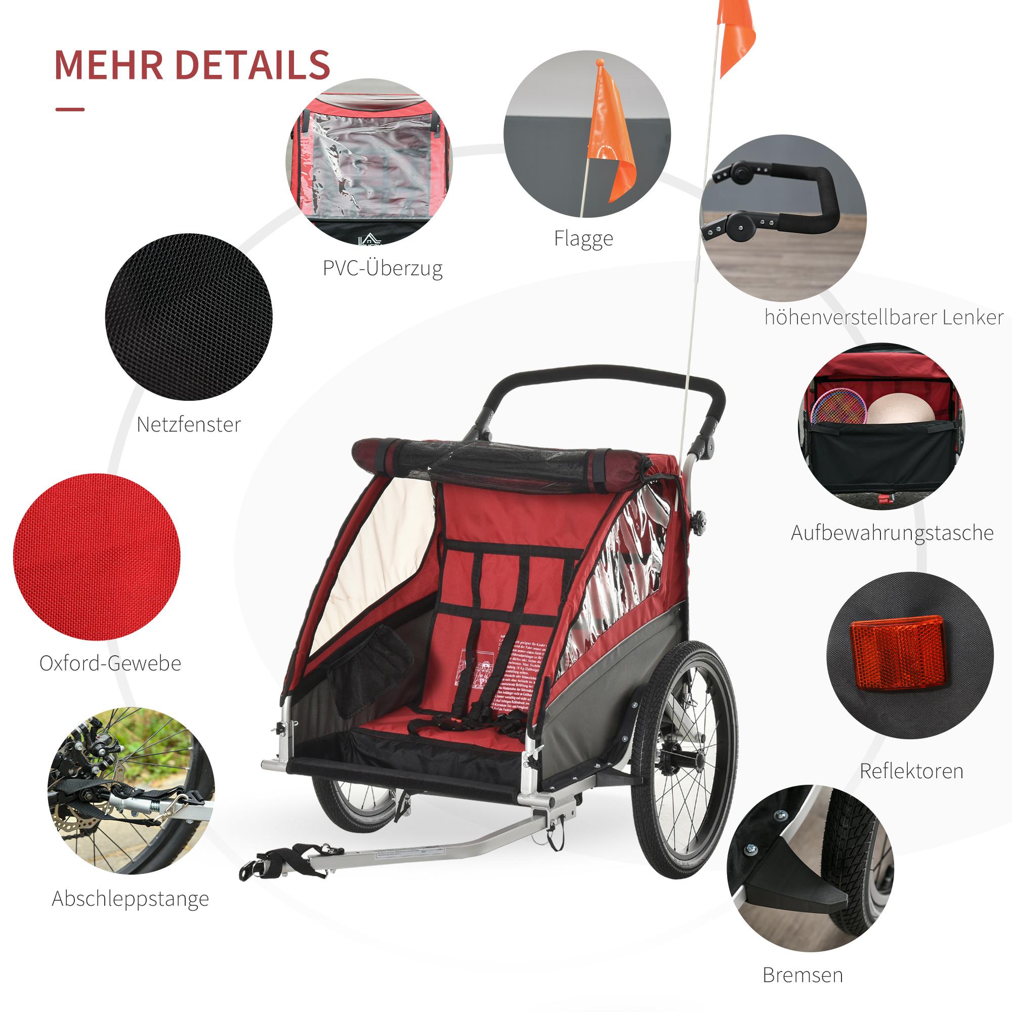 Indexbild 24 - HOMCOM 3 in 1 Kinderanhänger Jogger Fahrradanhänger für 2 Kinder Alu