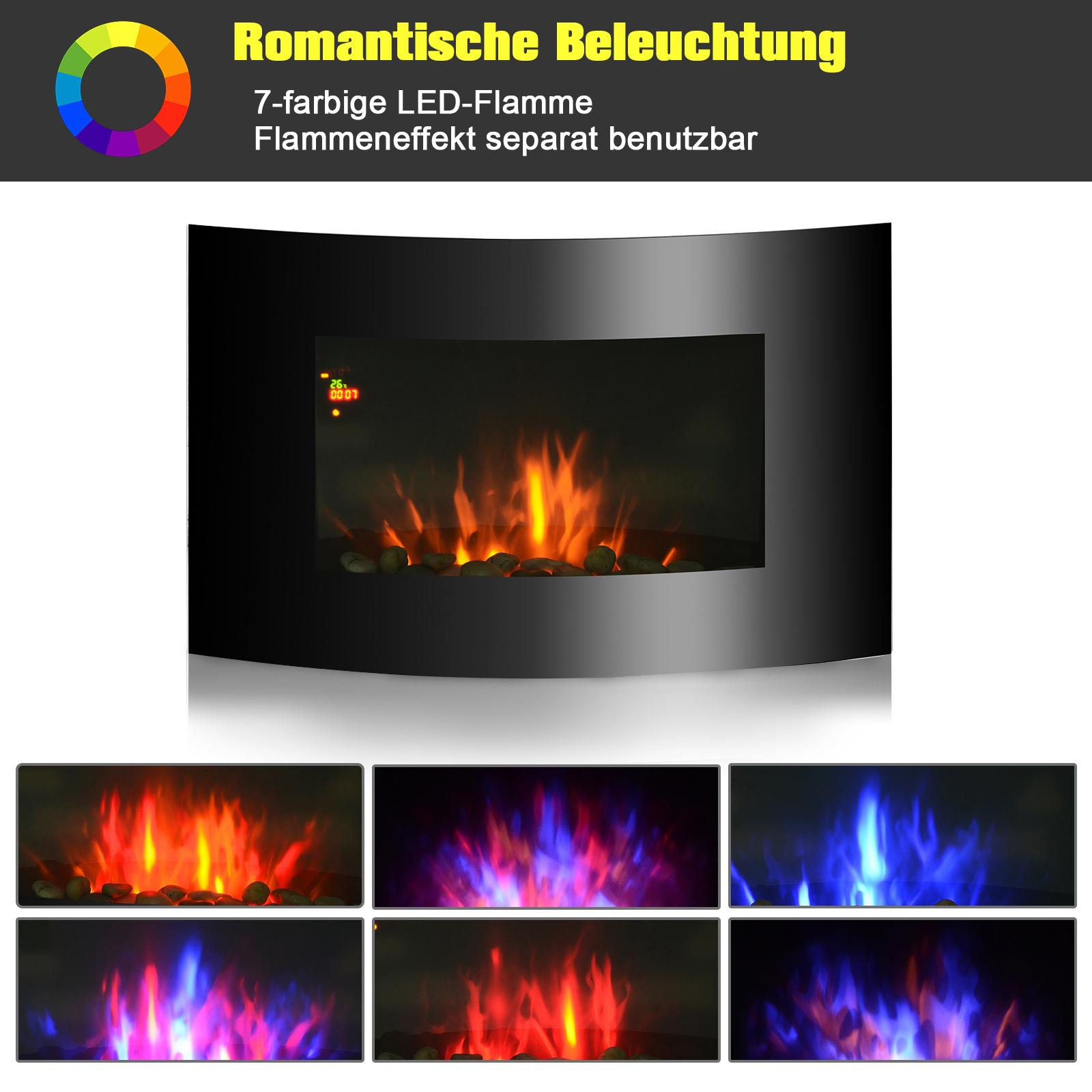 Elektrokamin-Elektrisch-Wandkamin-Kaminofen-LED-Kies-Edelstahl-1800W-Heize Indexbild 3