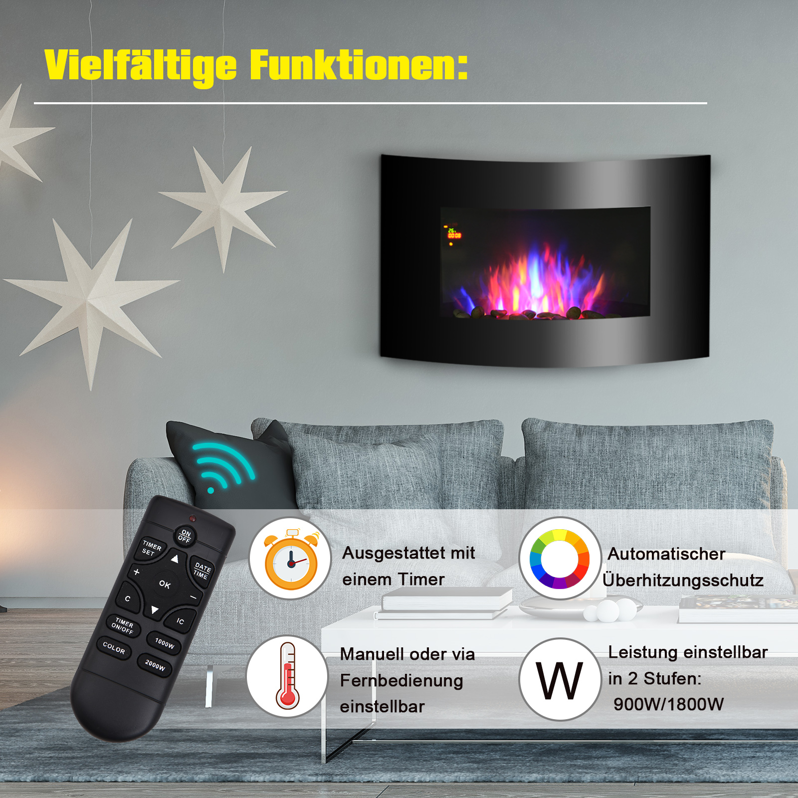 Elektrokamin-Elektrisch-Wandkamin-Kaminofen-LED-Kies-Edelstahl-1800W-Heize Indexbild 2