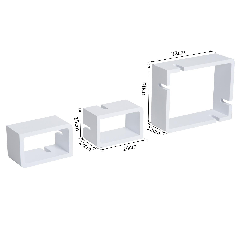 farbige Cubes Wandregal 3er Set Schweberegal belastbar lackierte Wandboards
