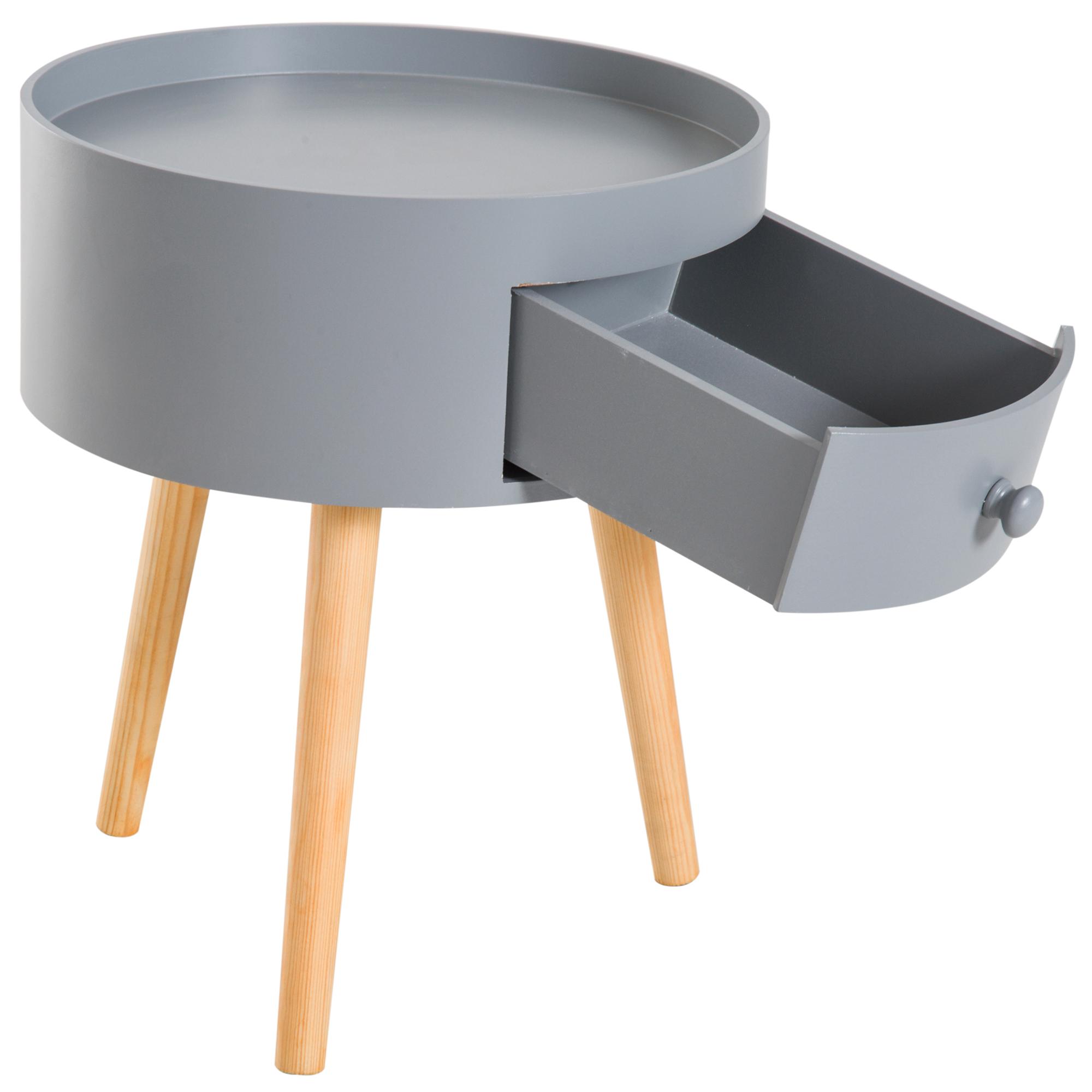 Details zu Beistelltisch mit Schublade Couchtisch skandinavisch Wohnzimmer  Holz Weiß / Grau