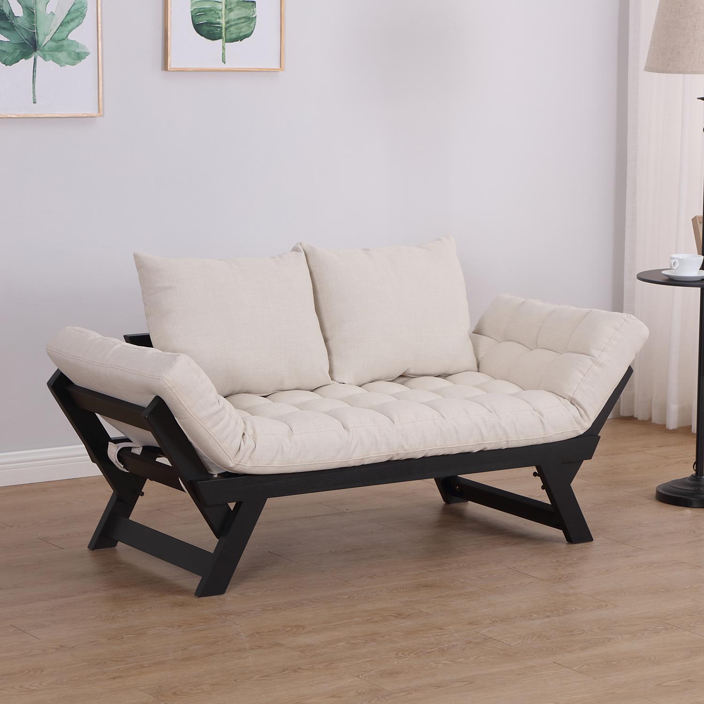 Homcom Schlafsofa Klappsofa Couch 2 Sitzer Stoff Leinen Creme Ebay