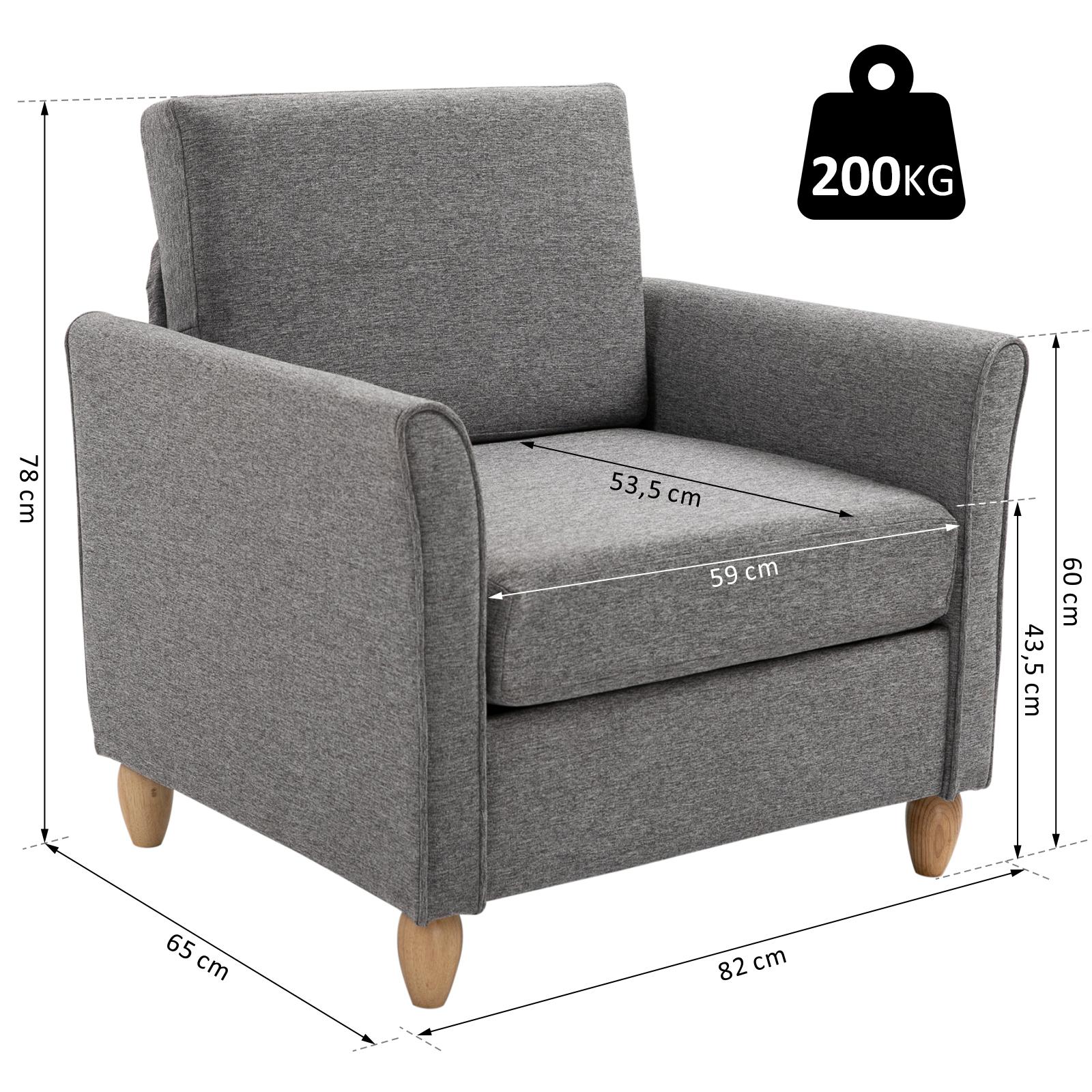 HOMCOM Polstersessel Sessel mit Armlehnen + Kissen Leinen ...