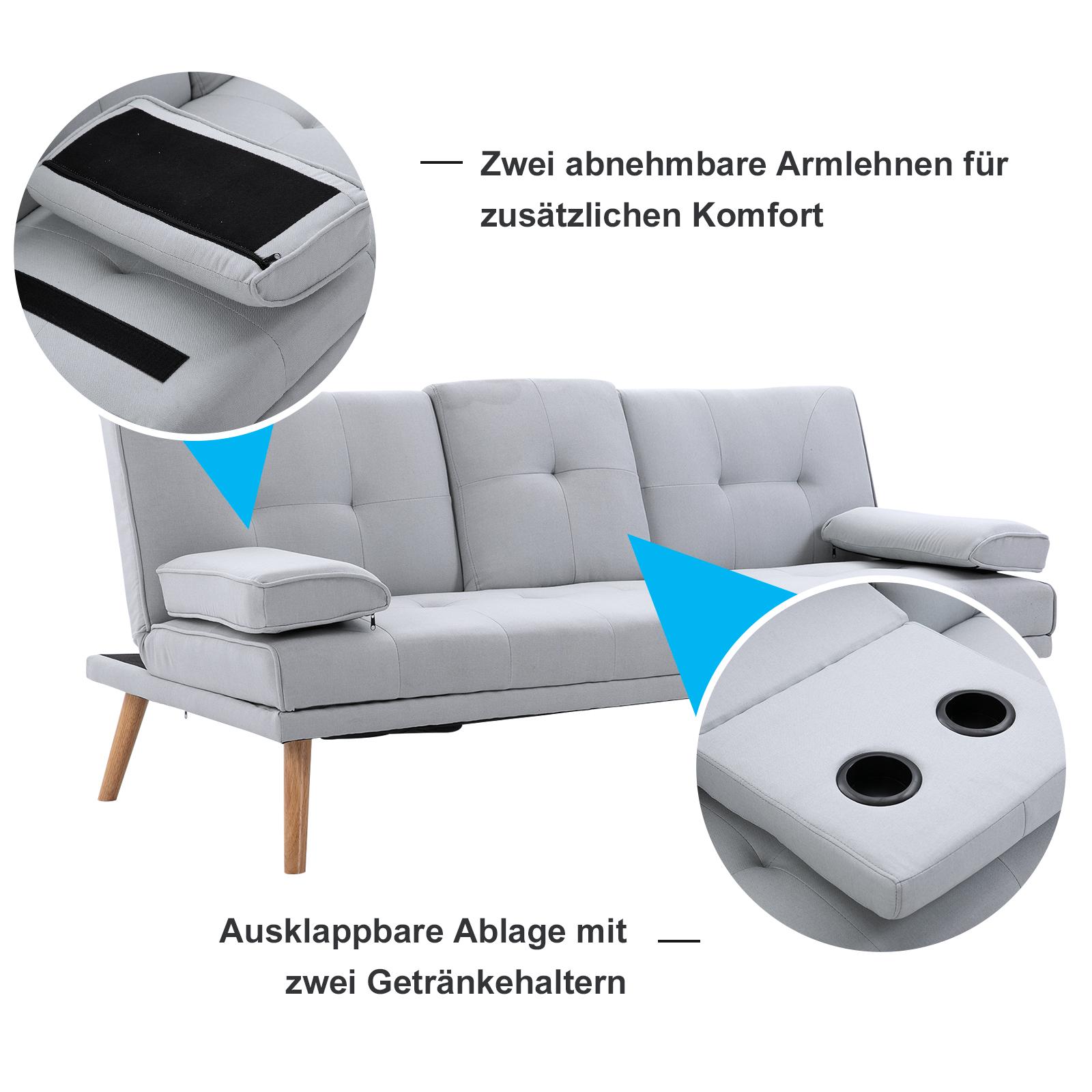 HOMCOM Schlafsofa Sofabett Schlafcouch 3 Sitzer Leinen Hellgrau 181 x 77 x 72 cm