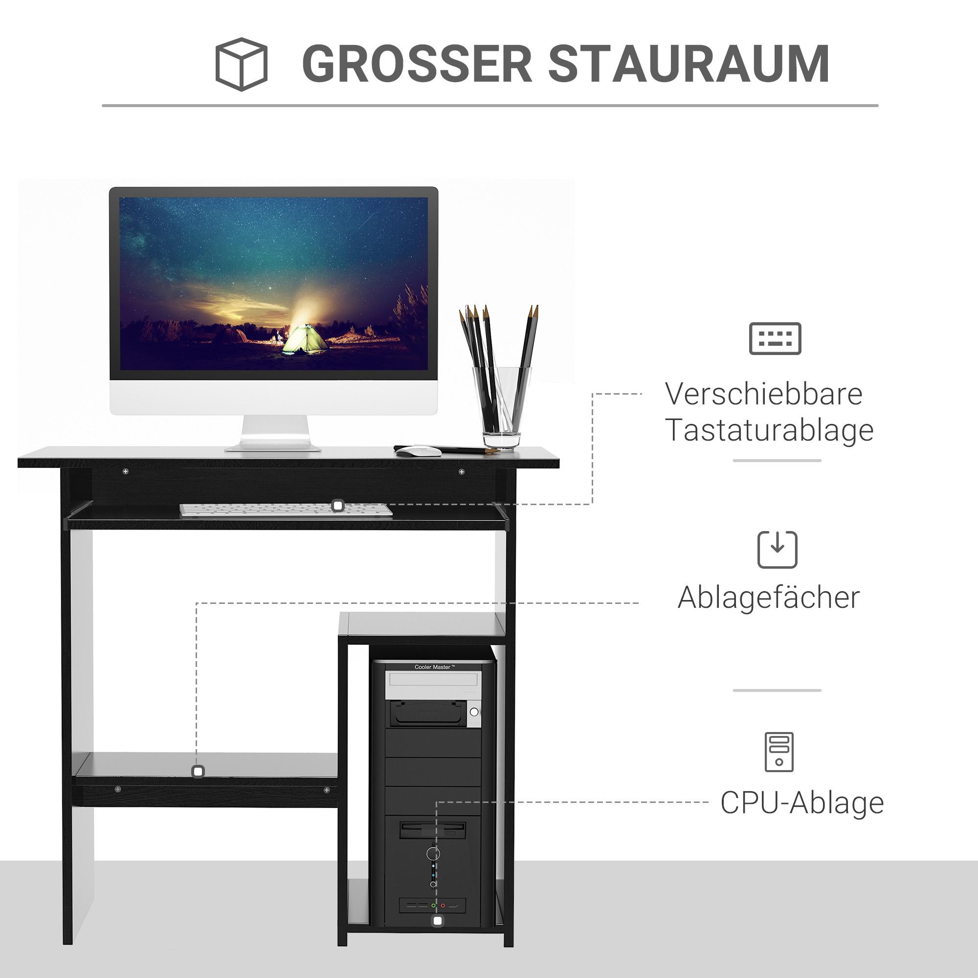 Indexbild 11 - HOMCOM Computertisch Schreibtisch Bürotisch Gamingtisch PC-Tisch Weiß/Schwarz