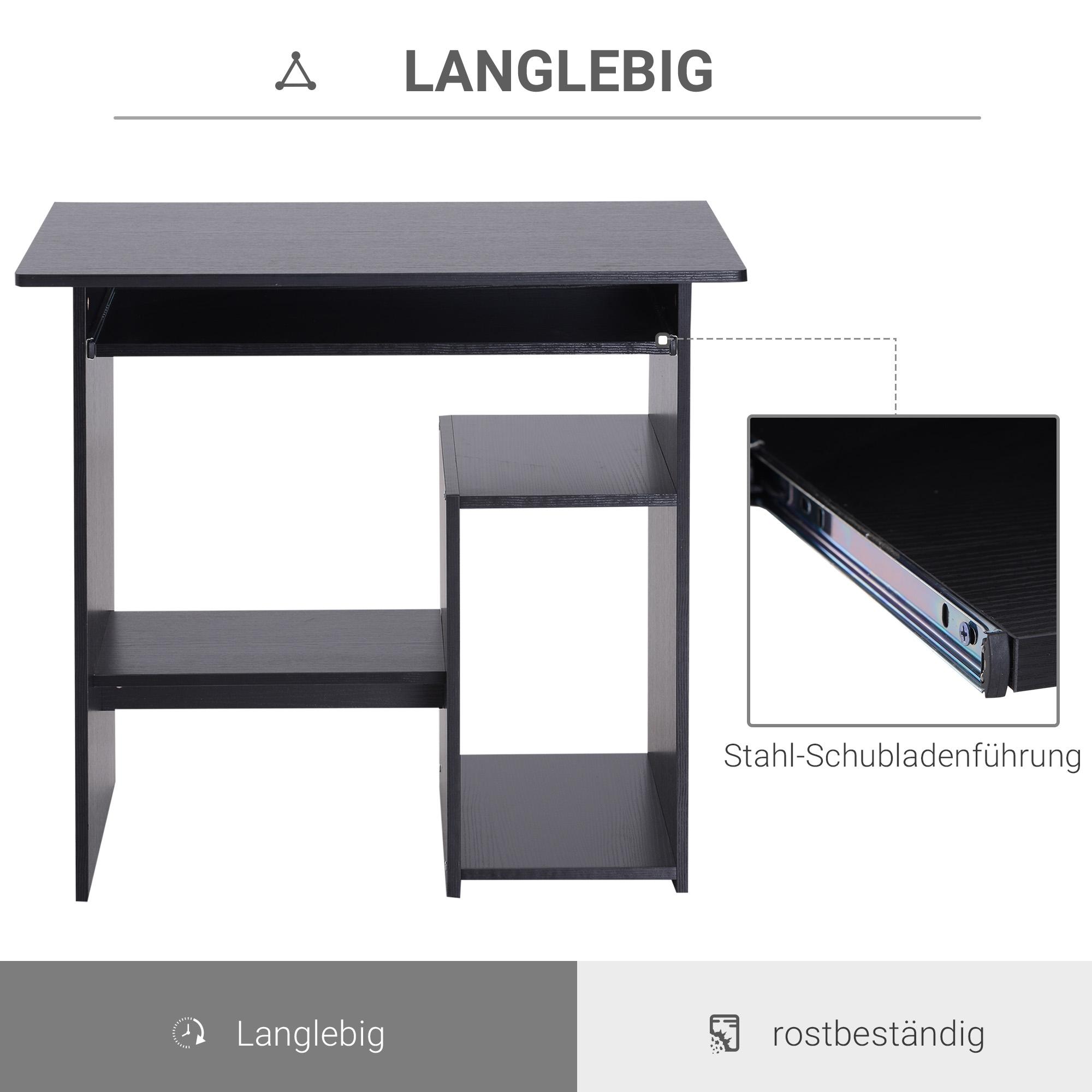 Indexbild 12 - HOMCOM Computertisch Schreibtisch Bürotisch Gamingtisch PC-Tisch Weiß/Schwarz