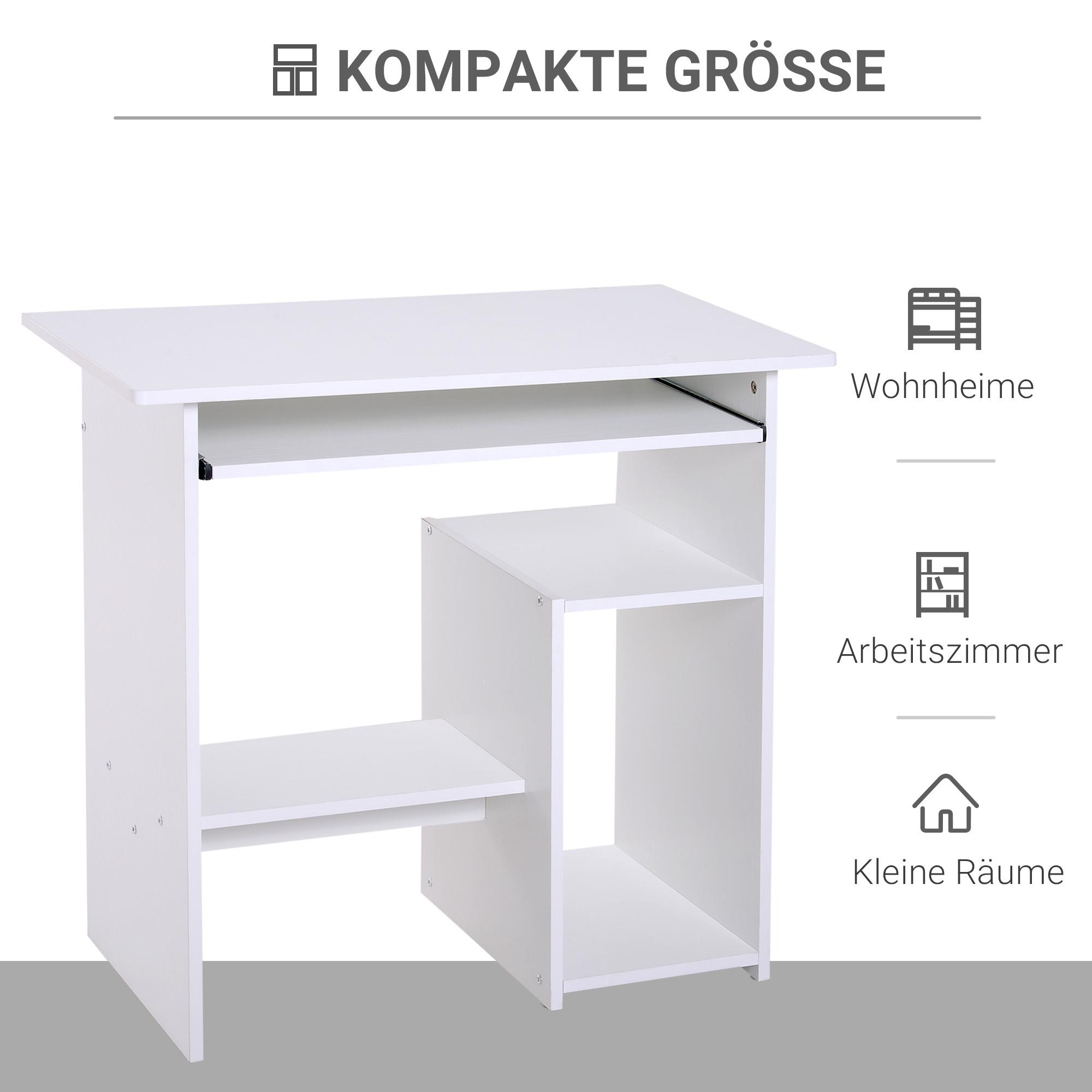 Indexbild 21 - HOMCOM Computertisch Schreibtisch Bürotisch Gamingtisch PC-Tisch Weiß/Schwarz