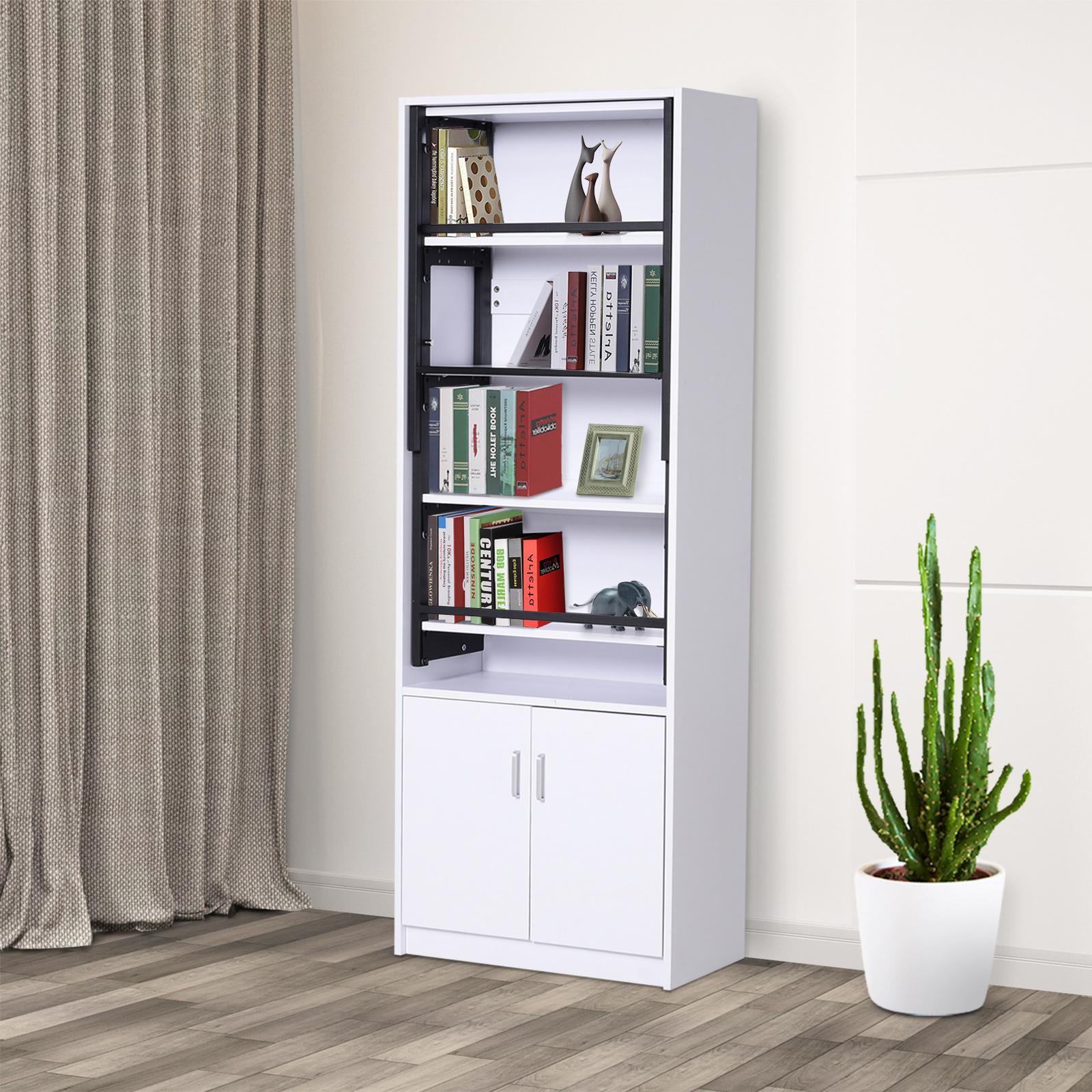 Bücherregal mit Schrank Regal mit Klapptisch 2-in-1 ...