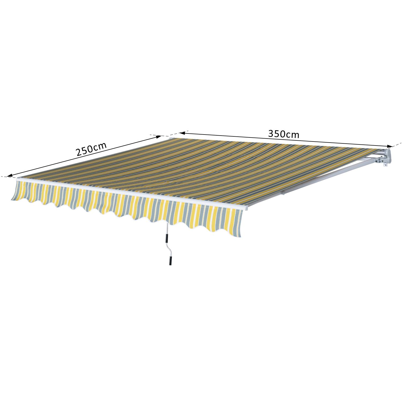 Markise-Gelenkarmmarkise-Handkurbel-Balkon-3-5x2-5m-Alu-2-Farben Indexbild 15