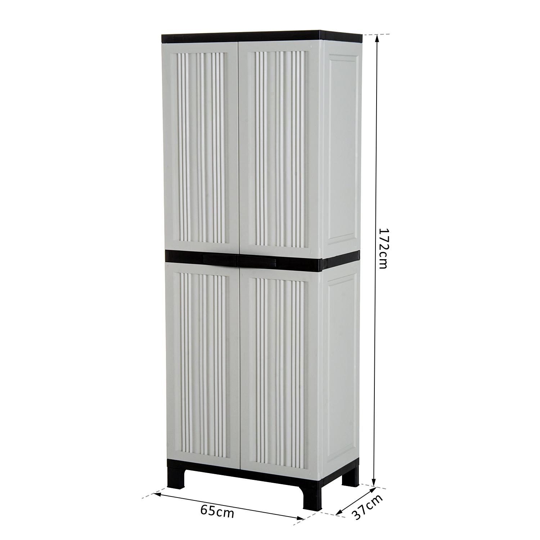 Möbel Outsunny Geräteschrank Kunststoff Schrank Mit 3 Einlegeböden