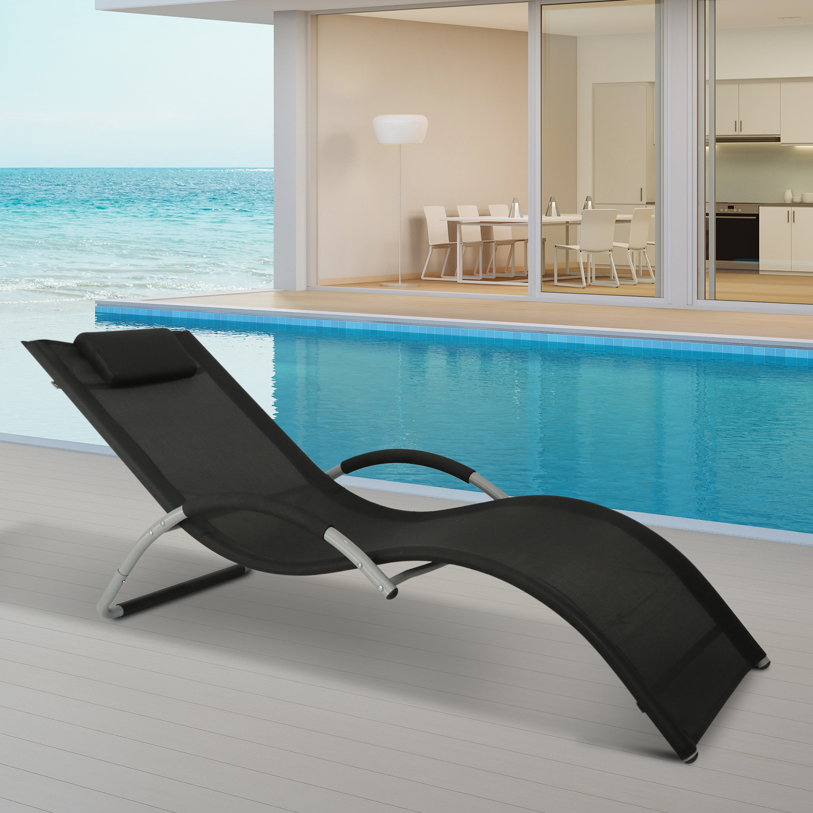 Details Zu Outsunny Sonnenliege Gartenliege Liegestuhl Strandliege Ergonomisch Relaxliege