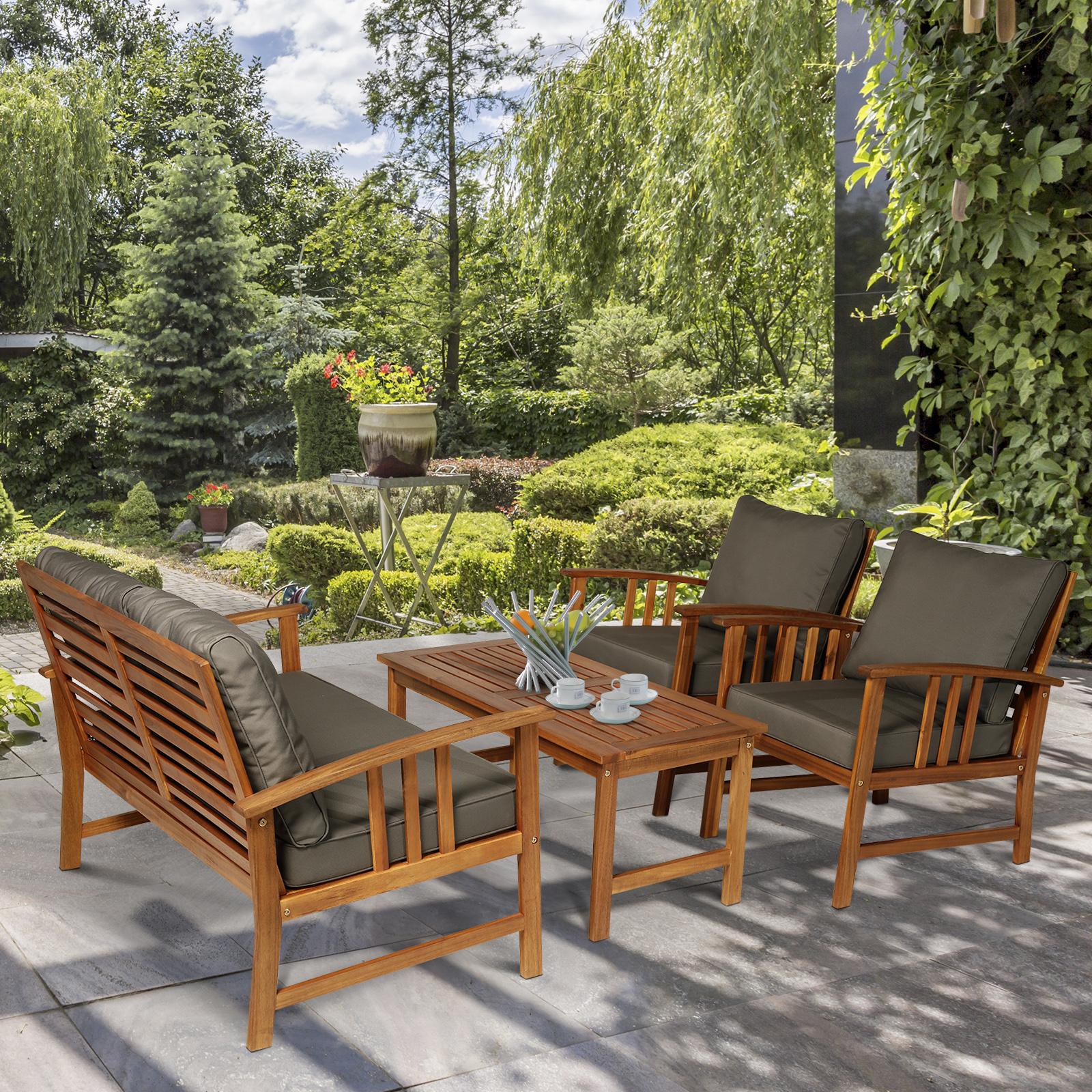 Details zu Outsunny Holz-Sitzgruppe 4er-Gartenset Gartenmöbel Lounge  Garnitur mit Kissen