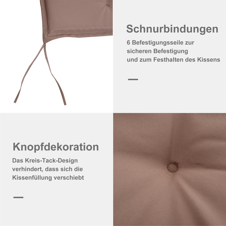 Indexbild 12 - Outsunny Bankauflage 2er Set Bankkissen Sitzkissen Polster Polyester