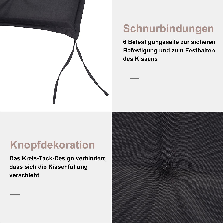 Indexbild 23 - Outsunny Bankauflage 2er Set Bankkissen Sitzkissen Polster Polyester