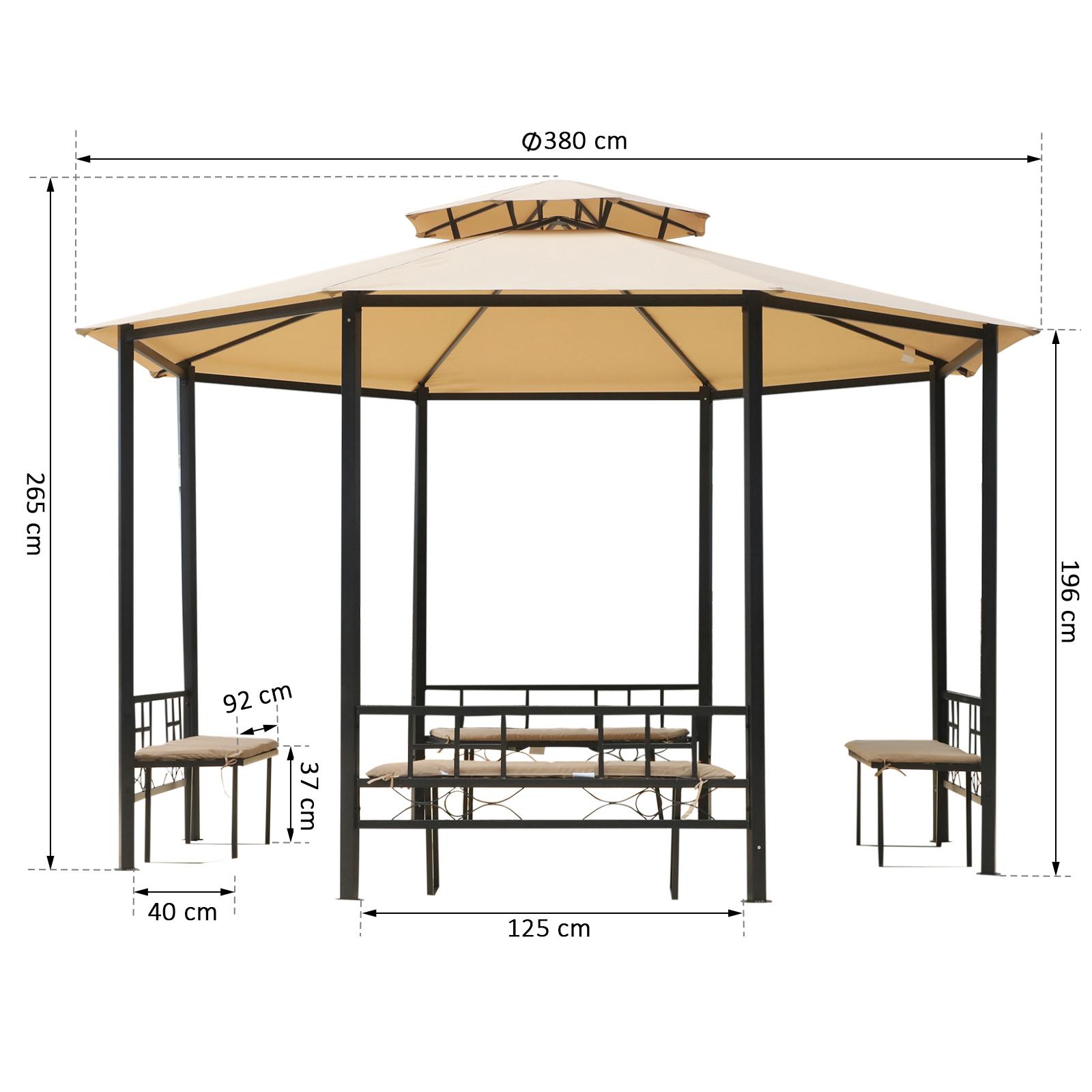 Outsunny Gartenpavillon Pavillon Festzelt Partyzelt mit Seitenwänden 3x3,65m