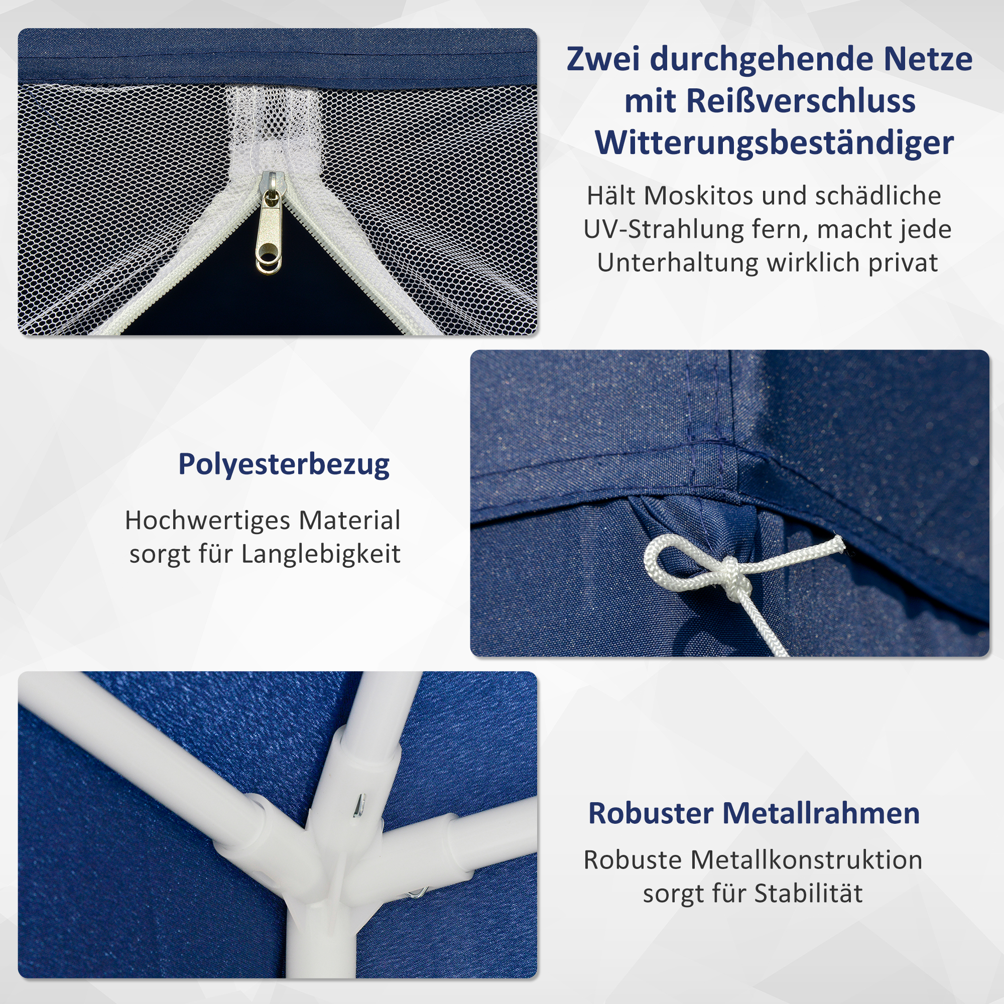 Indexbild 21 - Outsunny Gartenpavillon Pavillon Partyzelt Moskitonetz Beige/Blau/Grün 3 x 3 m