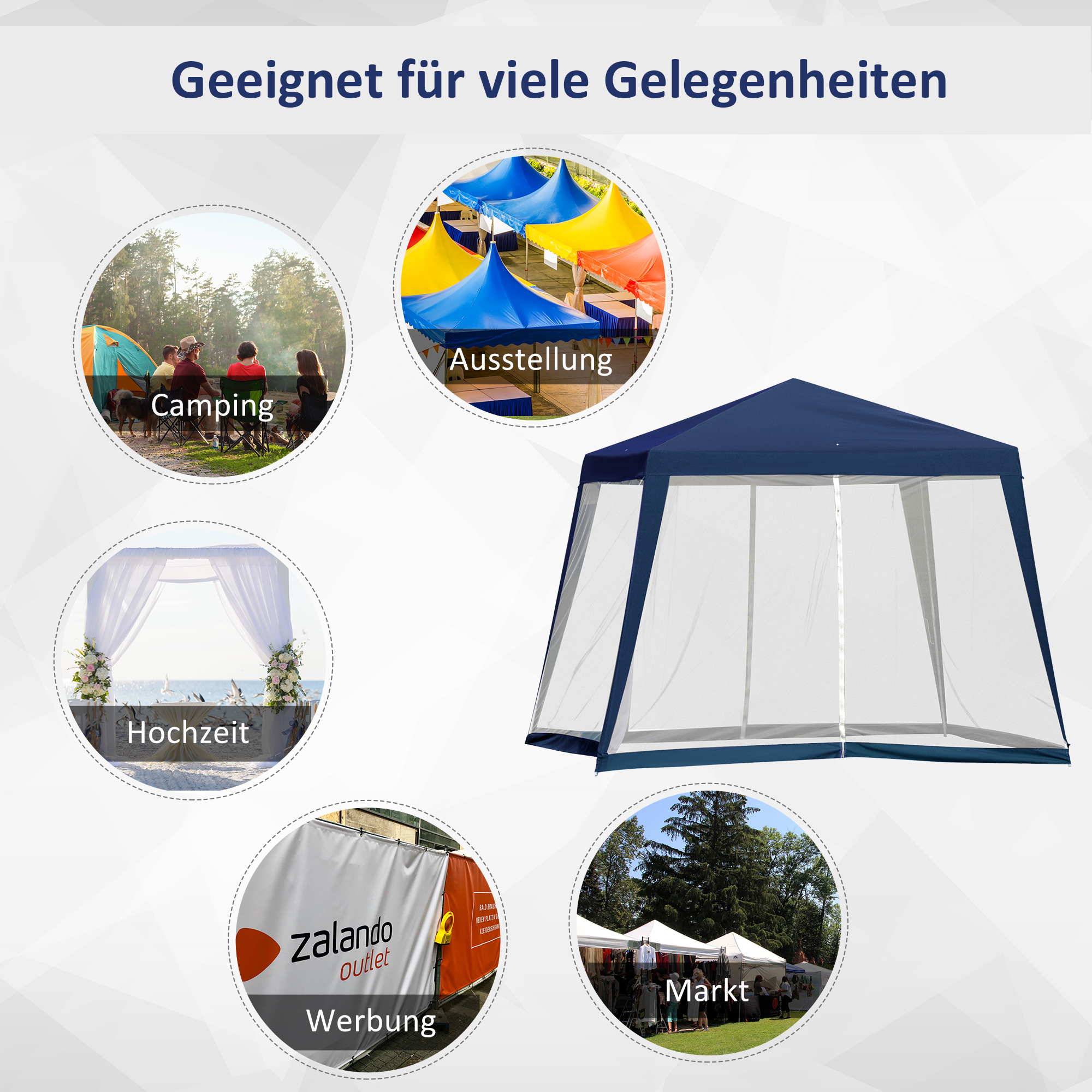 Indexbild 26 - Outsunny Gartenpavillon Pavillon Partyzelt Moskitonetz Beige/Blau/Grün 3 x 3 m