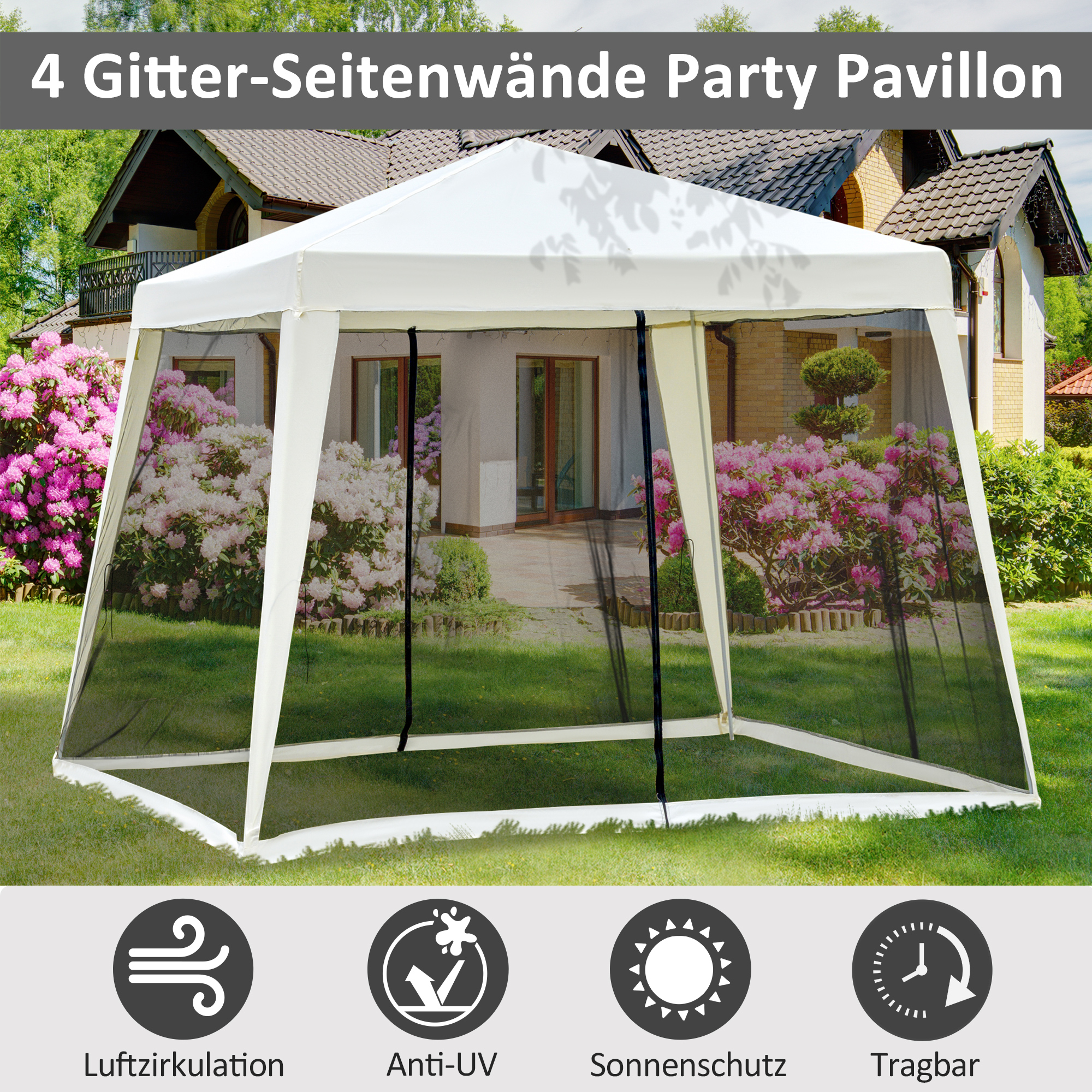 Indexbild 11 - Outsunny Gartenpavillon Pavillon Partyzelt Moskitonetz Beige/Blau/Grün 3 x 3 m