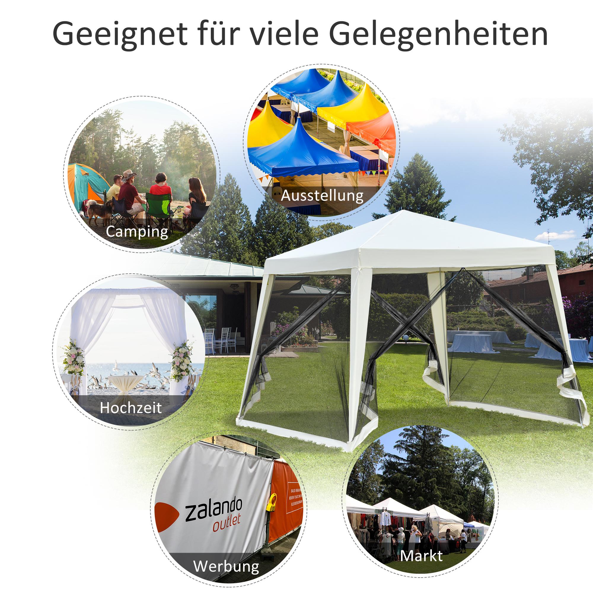 Indexbild 15 - Outsunny Gartenpavillon Pavillon Partyzelt Moskitonetz Beige/Blau/Grün 3 x 3 m