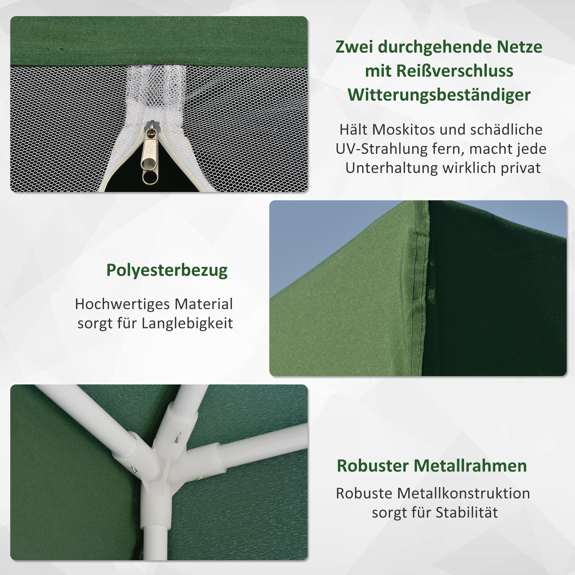 Indexbild 32 - Outsunny Gartenpavillon Pavillon Partyzelt Moskitonetz Beige/Blau/Grün 3 x 3 m