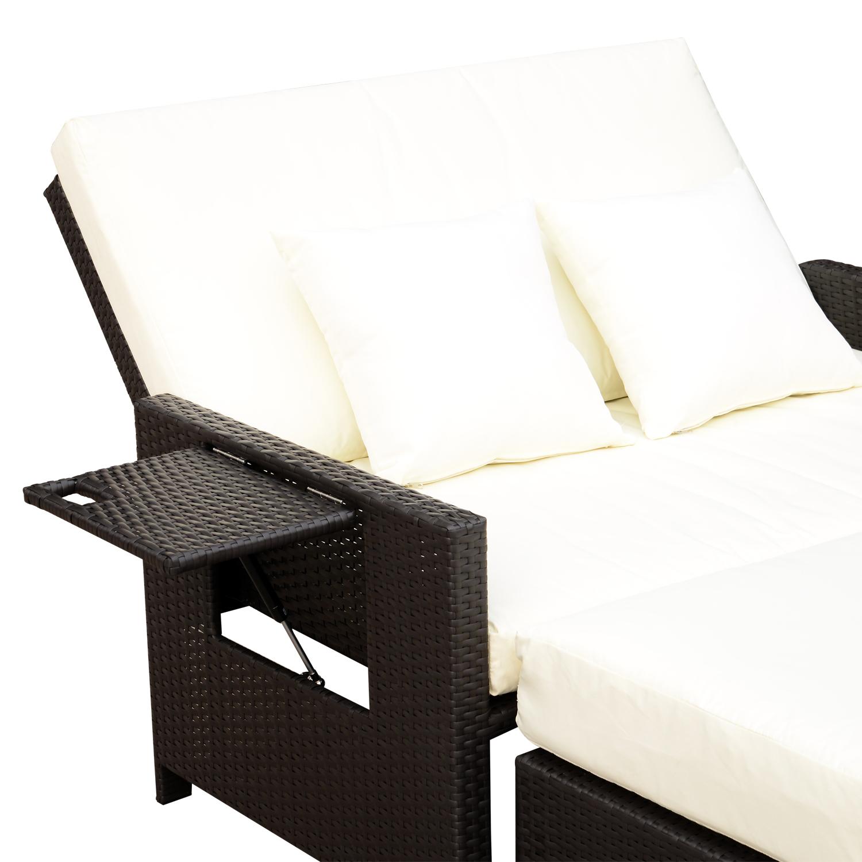 Outsunny Polyrattan Lounge Sofa Gartensofa 2 Sitzer Mit Kissen Braun