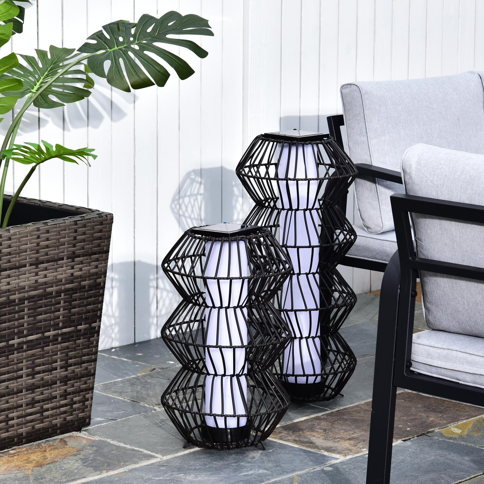 Details zu LED Solarleuchte Rattan Stehleuchte Gartenlampe Außenleuchte Kaffee 2 Größe