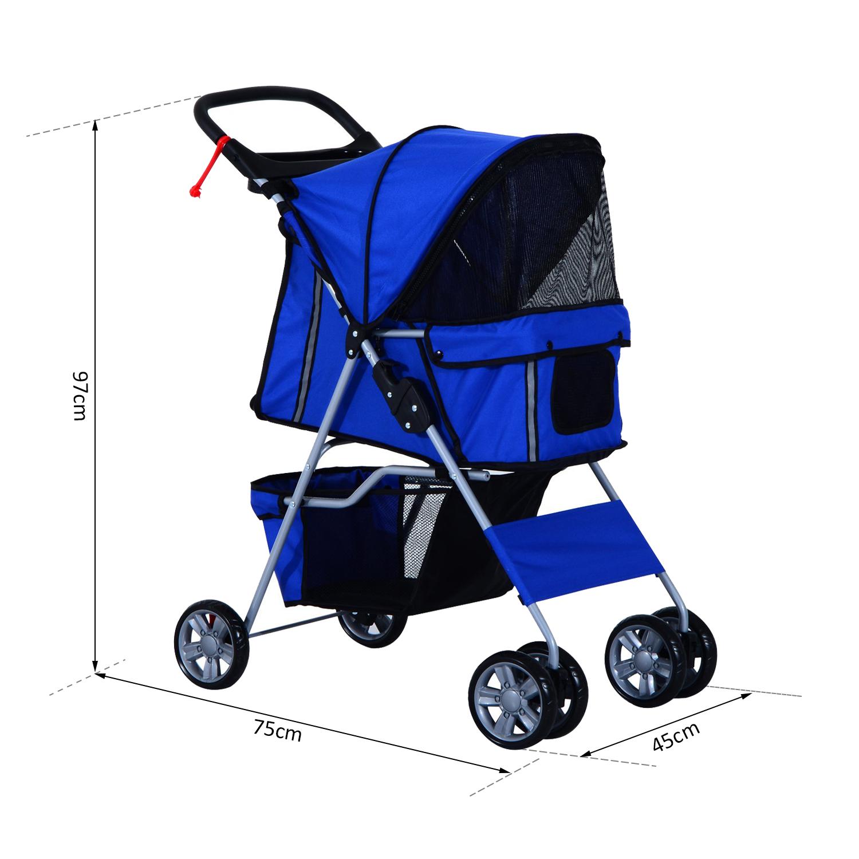 Hundewagen-Hundebuggy-Hunde-Pet-Stroller-Buggy-4-Farben-3-4-Raeder