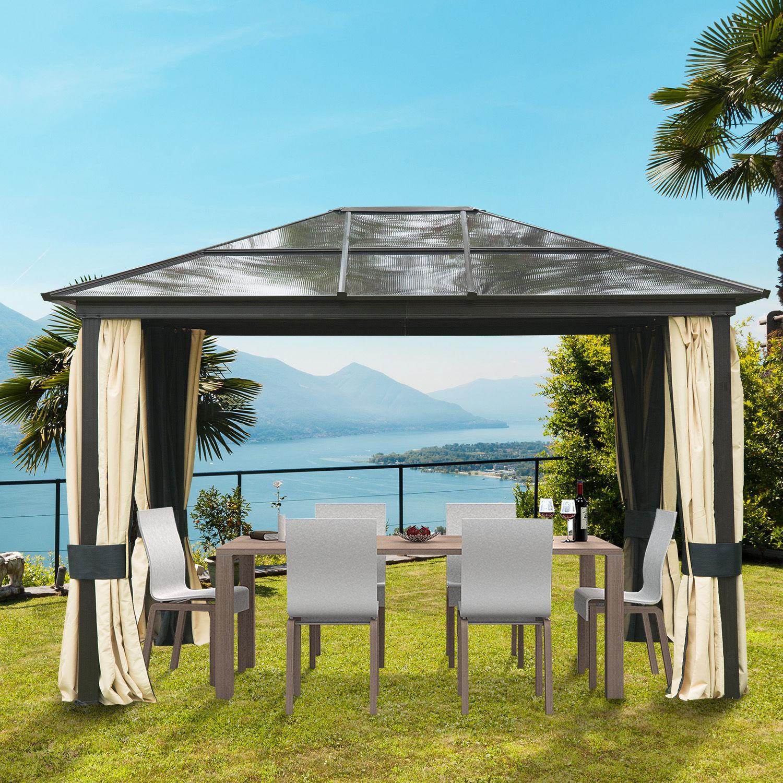 outsunny luxus pavillon gartenpavillon partyzelt gartenzelt pc dach 3 6x3x2 65 m ebay. Black Bedroom Furniture Sets. Home Design Ideas