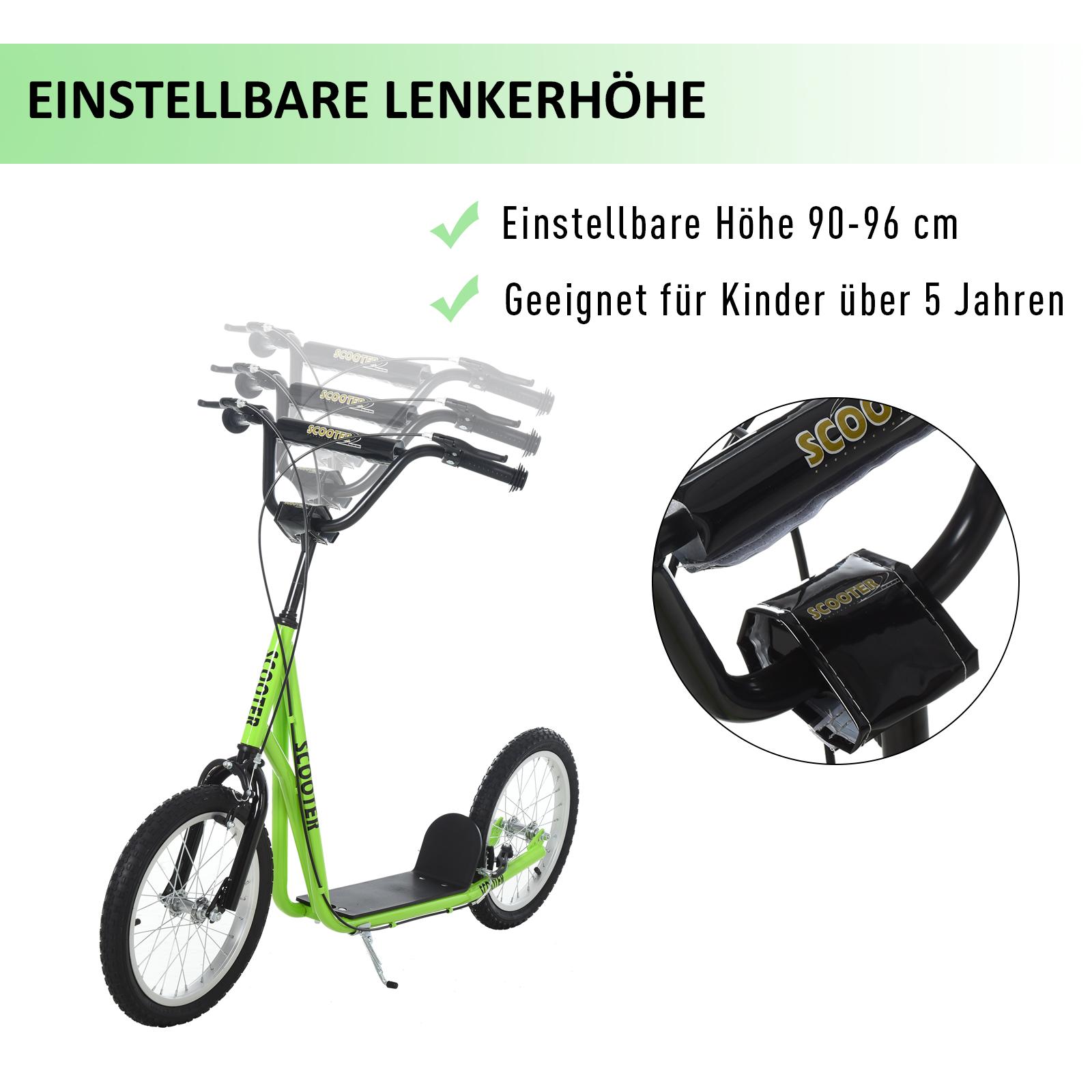 Indexbild 22 - HOMCOM-Tretroller-Kinderroller-Scooter-Cityroller-Roller-verstellbar-Blau-Gruen