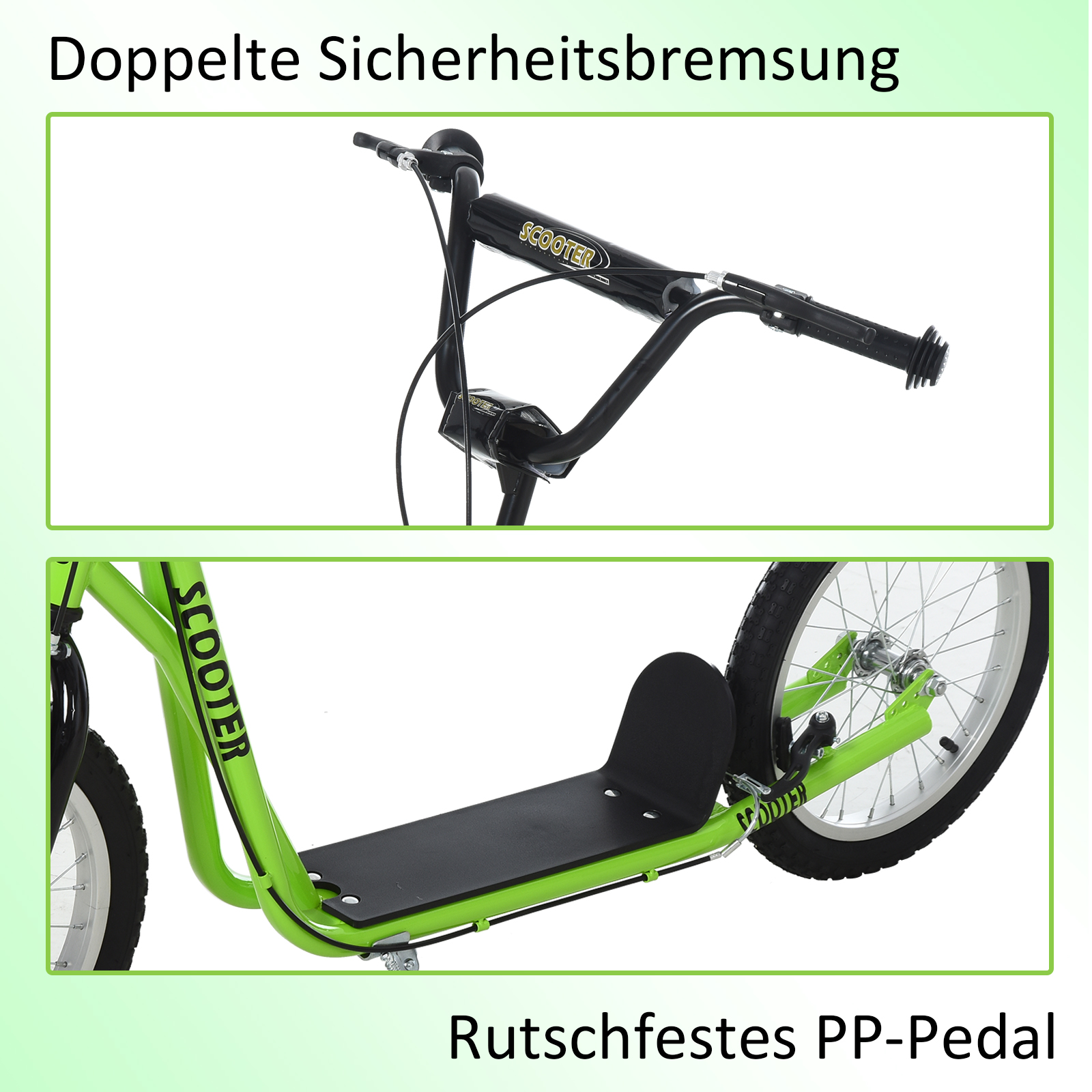 Indexbild 21 - HOMCOM-Tretroller-Kinderroller-Scooter-Cityroller-Roller-verstellbar-Blau-Gruen