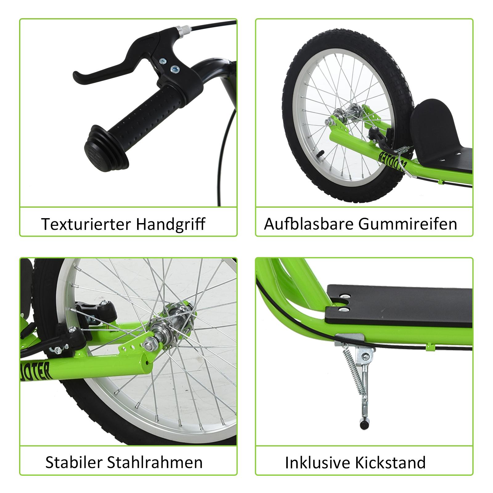 Indexbild 23 - HOMCOM-Tretroller-Kinderroller-Scooter-Cityroller-Roller-verstellbar-Blau-Gruen
