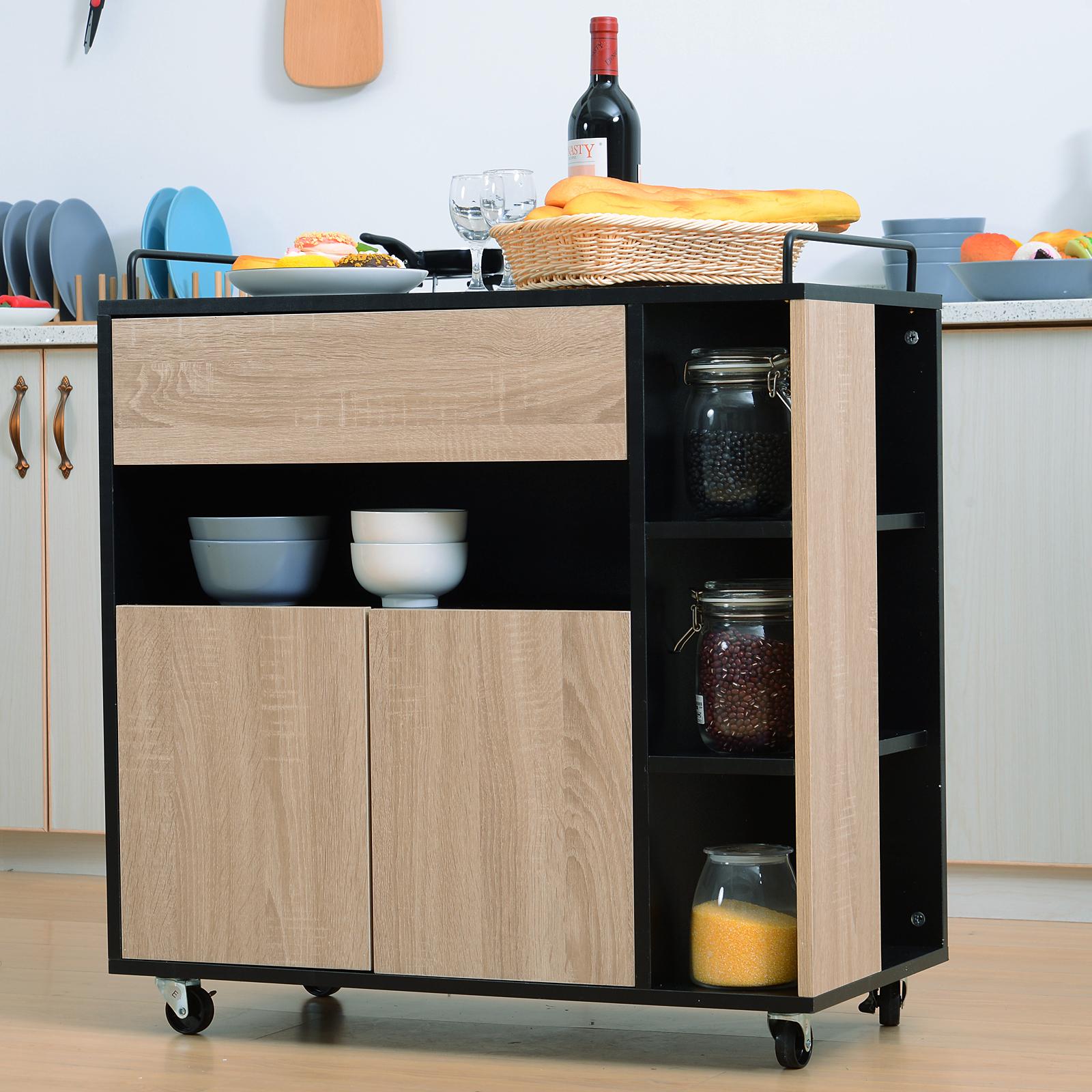 Carrelli Da Cucina Moderni.Dettagli Su Homcom Carrello Da Cucina Con Ruote Legno Rovere Multiuso Moderno Cassetto Anta