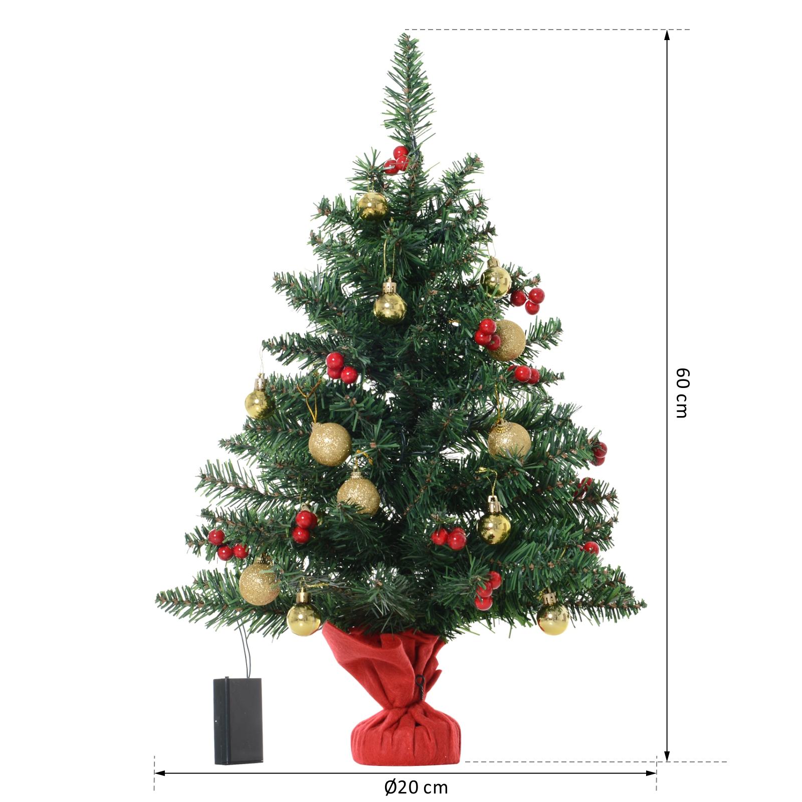 Albero Di Natale Decorato Con Foto.Homcom Piccolo Albero Di Natale Verde E Rosso Decorato Con 15 Luci A Led Bianche Ebay