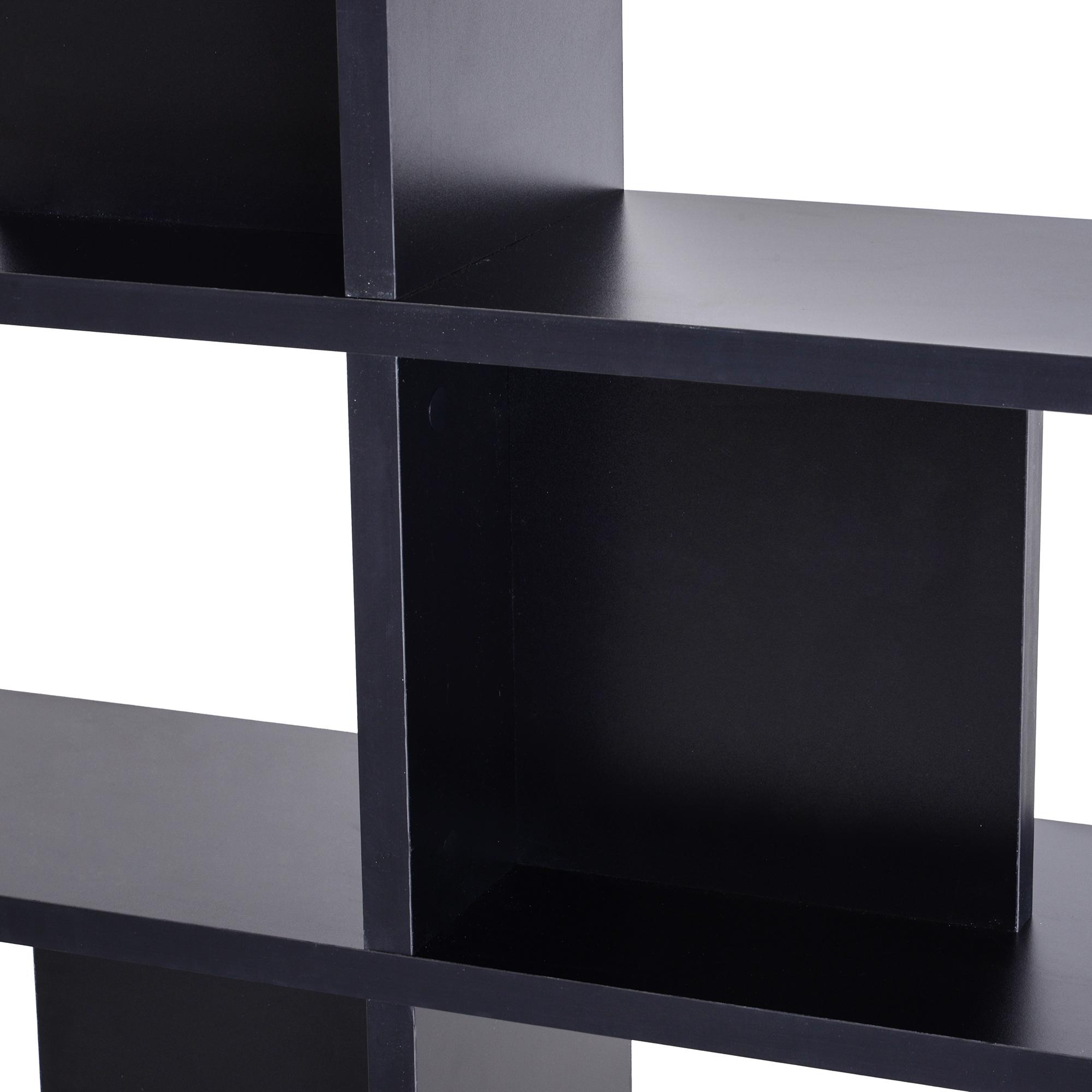 homcom Scaffale Libreria ad S 5 Ripiani Design Moderno Soggiorno Salotto Nero 120 x 28.6 x 160 cm Legno Ufficio