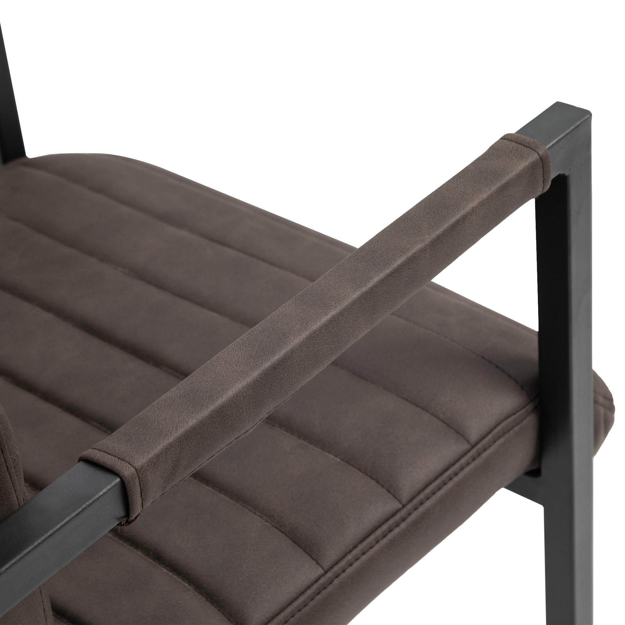 Marroni 63x53x90cm homcom Set di 2 Sedie da Pranzo Moderne in Stile Industriale con Imbottitura e Braccioli