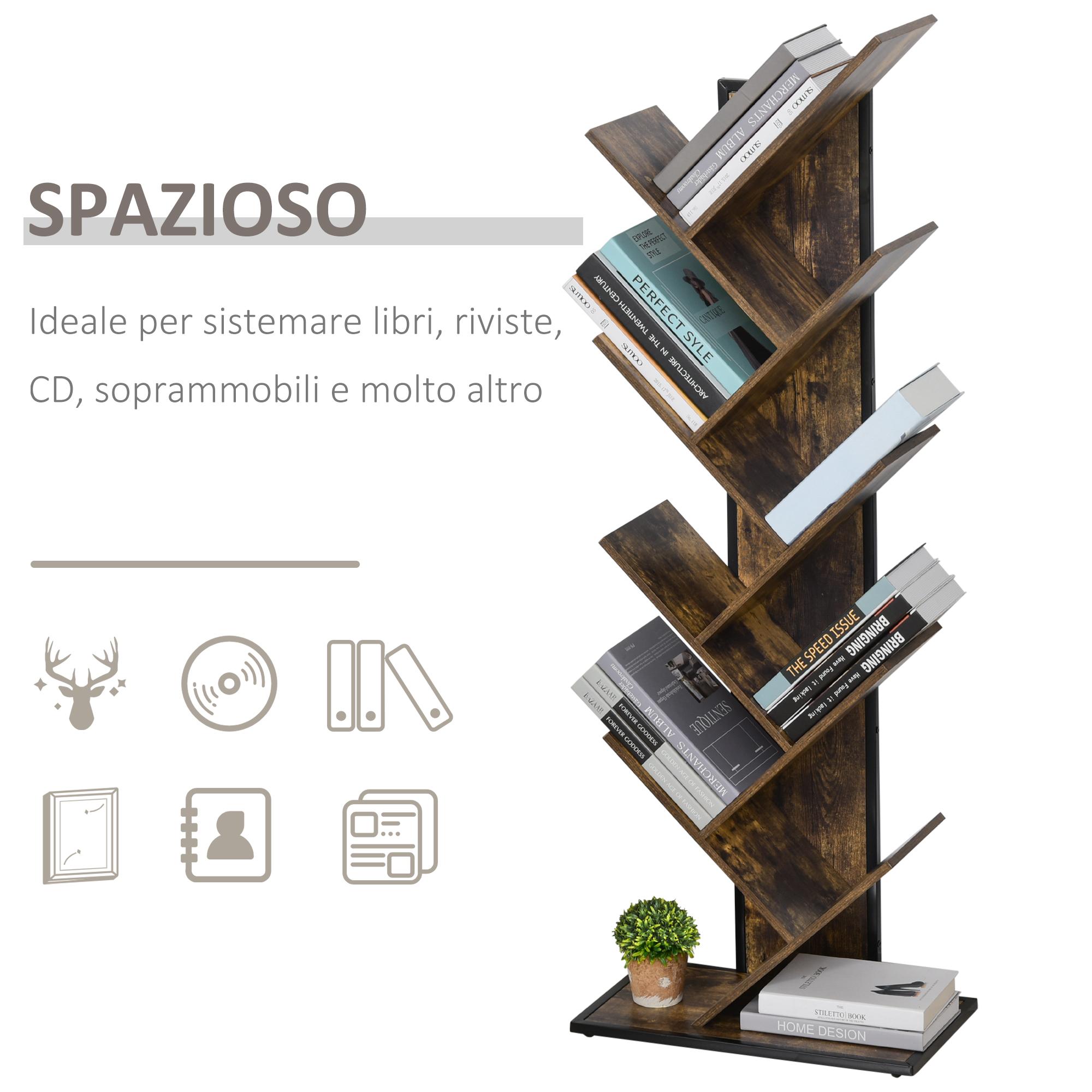 Estink per soggiorno ufficio casa Libreria a forma di albero con ripiani in legno