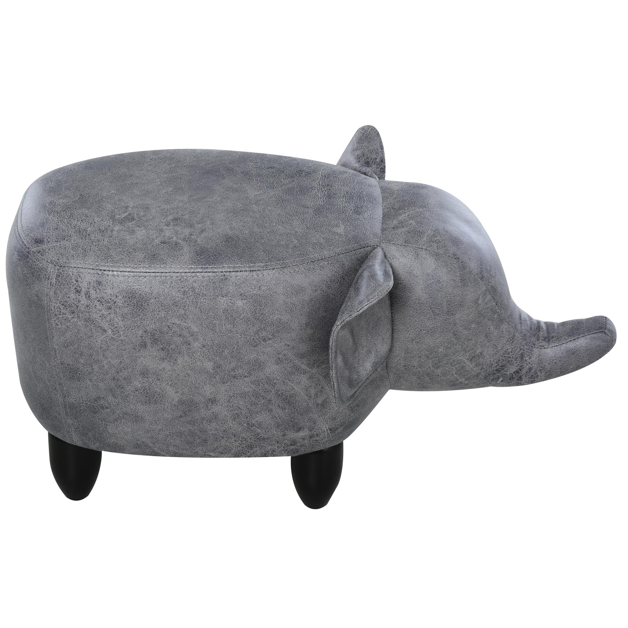 homcom Pouf Poggiapiedi a Forma di Elefante con Gambe in Legno e Rivestimento in Similpelle Grigia 65x35x36cm