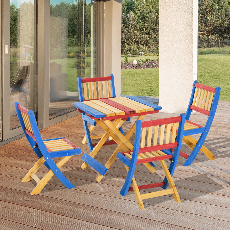 Sedie Da Esterno Colorate.Outsunny Set Tavolo Da Giardino Con 4 Sedie Legno Di Abete