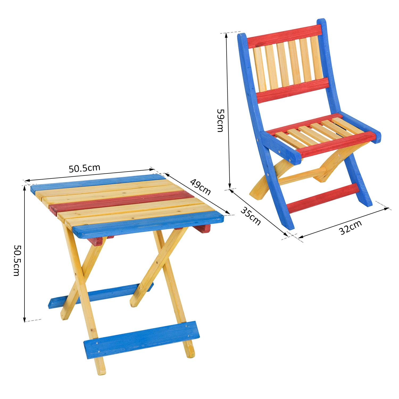 Tavolo Con Sedie Colorate.Sedie Da Set Tavolo Con 4 Con Outsunny Abete Giardino Colorato
