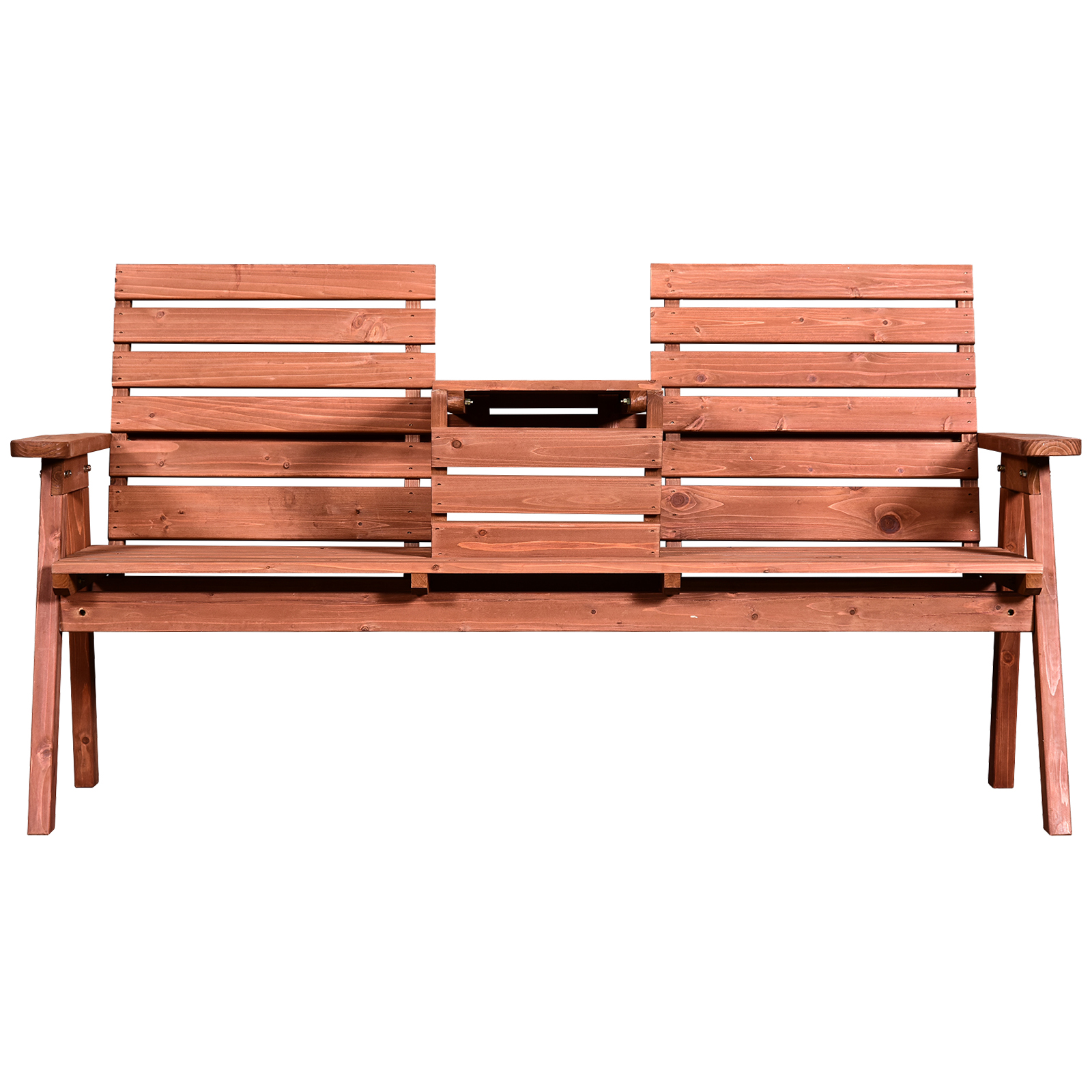 Impermeabile Outsunny Panchina da Esterni in Legno di Abete 2 o 3 Posti Tavolino Convertibile in Seduta 160x70x85cm