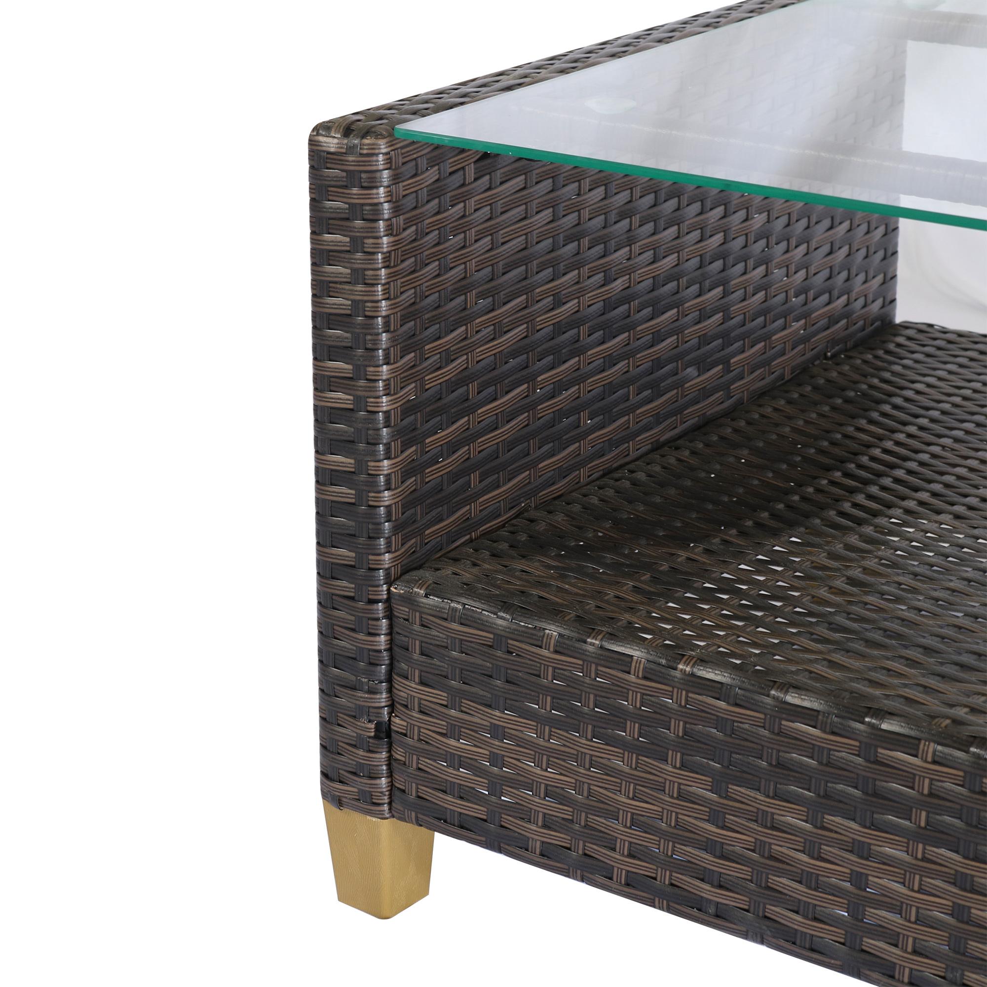 miniatura 10 - Outsunny Set Mobili da Giardino 4 Pezzi in Rattan PE Tavolino, Divano e Poltrone