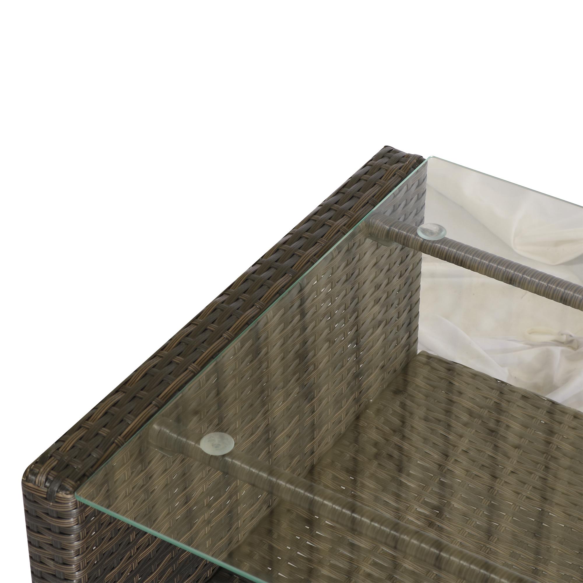 miniatura 11 - Outsunny Set Mobili da Giardino 4 Pezzi in Rattan PE Tavolino, Divano e Poltrone