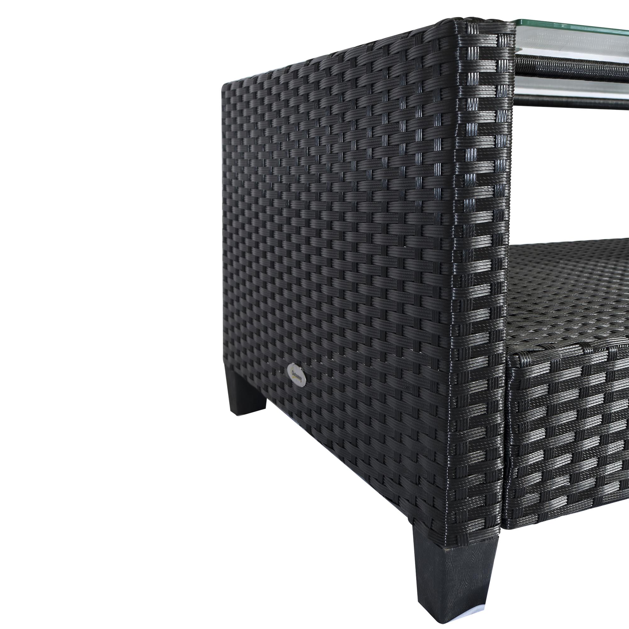 miniatura 20 - Outsunny Set Mobili da Giardino 4 Pezzi in Rattan PE Tavolino, Divano e Poltrone